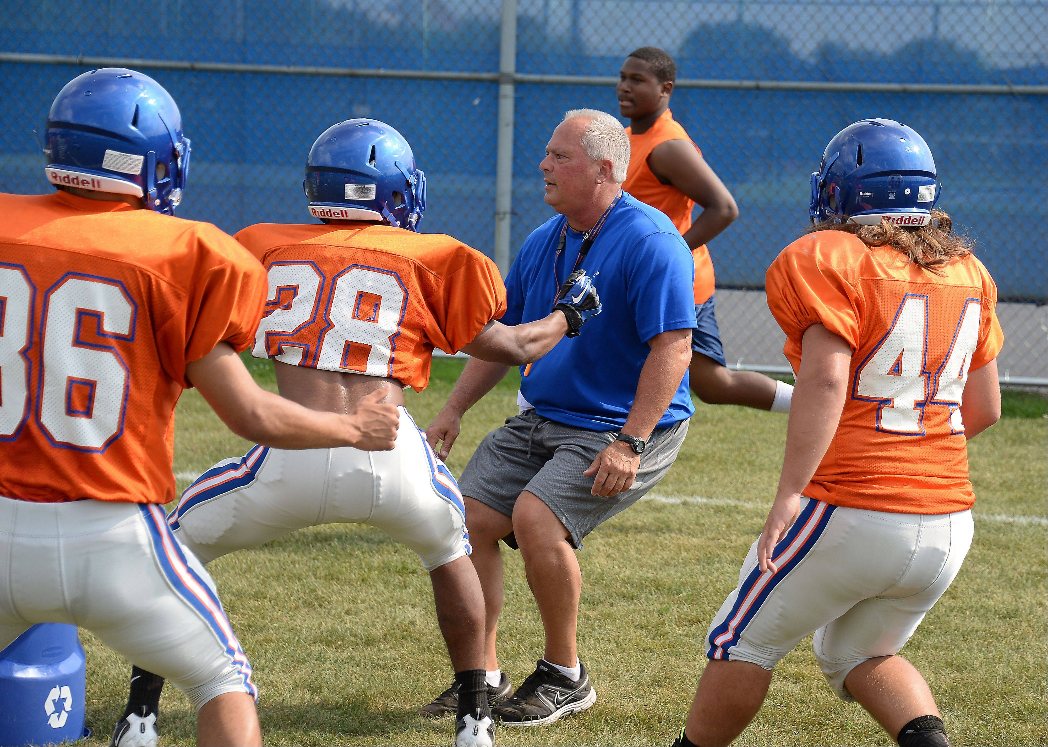 Hoffman Estates coach Mike Donatucci instructs his players during preseason practice.