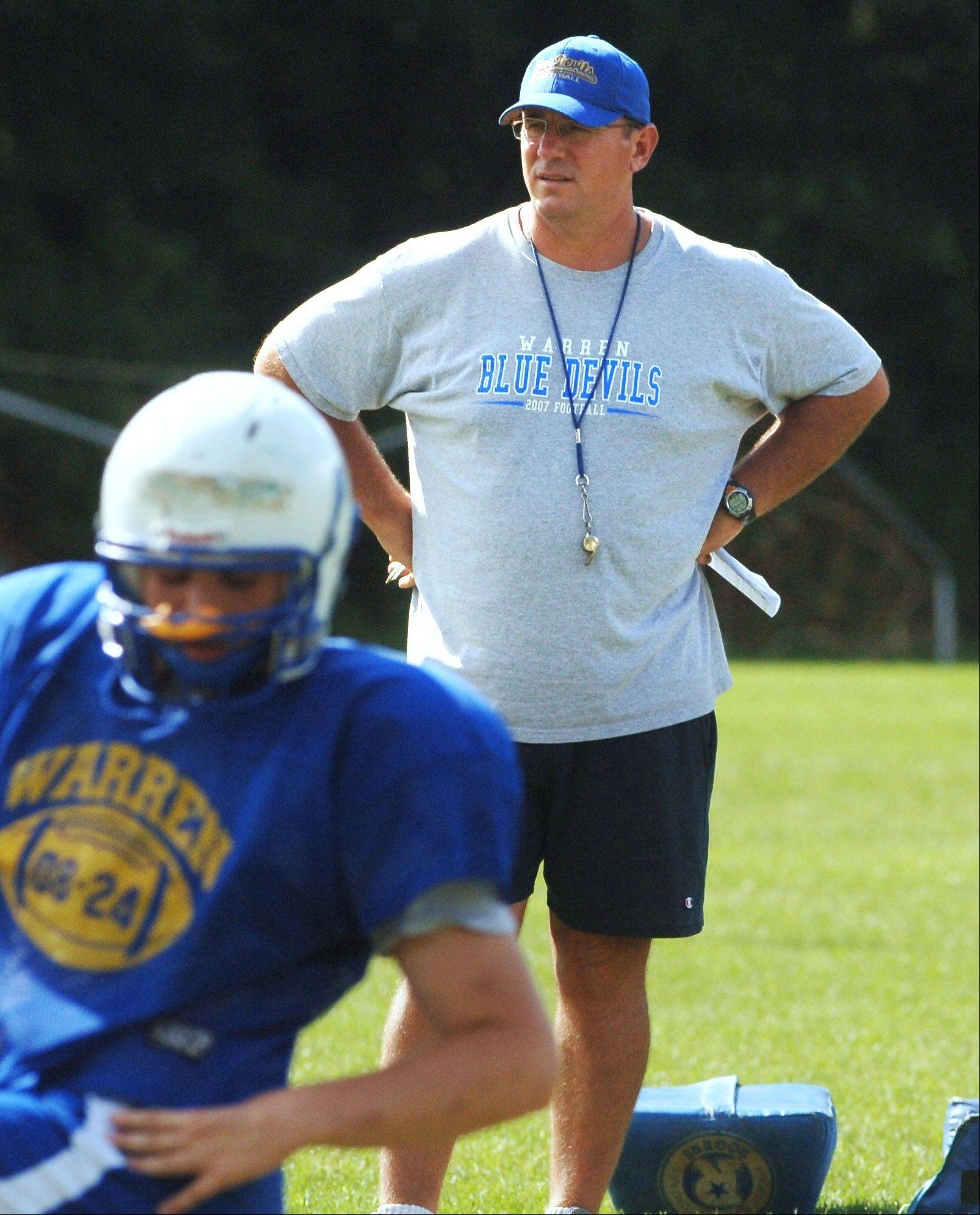 Warren coach Dave Mohapp is the Chicago Bears Coach of the Week after his Blue Devils stunned Lyons Township 42-35 in 3 overtimes last Saturday.