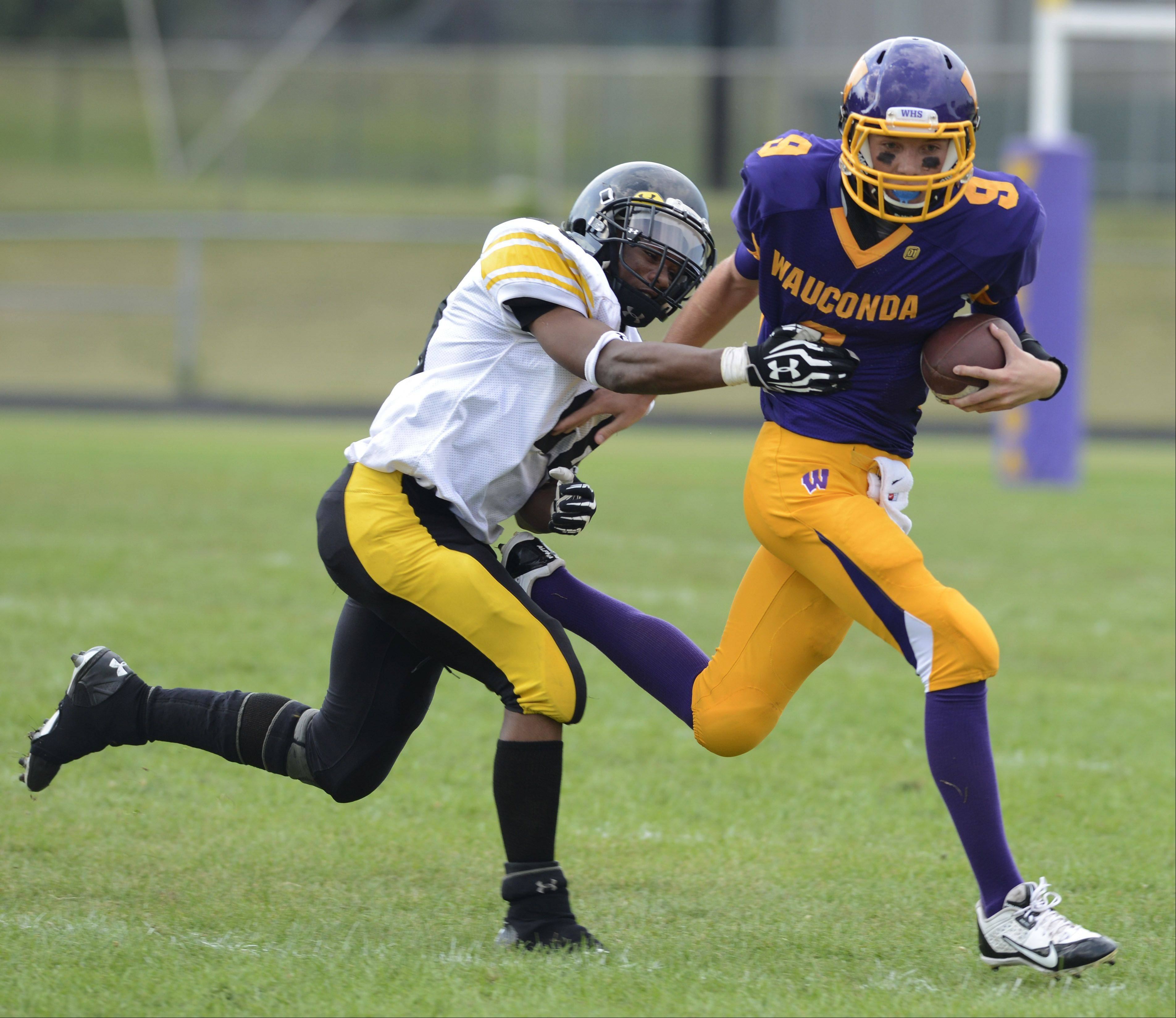 Wauconda quarterback Kevin Malisheski carries the ball while being pursued by Orr's TyShawn Bailey during Saturday's game.