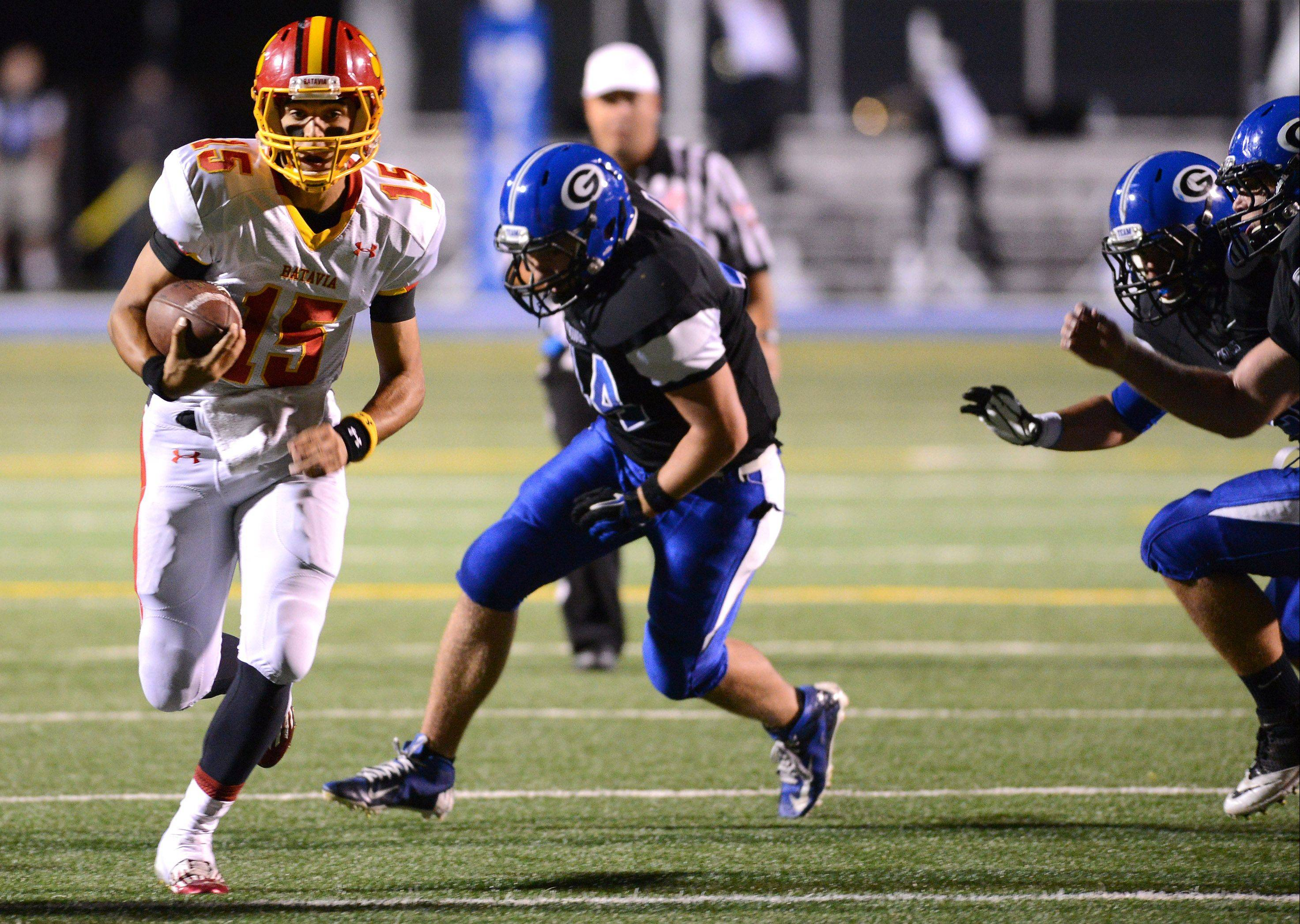 Batavia quarterback Micah Coffey and his teammates gave their fans plenty to cheer about including this play -- one of Coffey's three rushing touchdowns Friday at Geneva.
