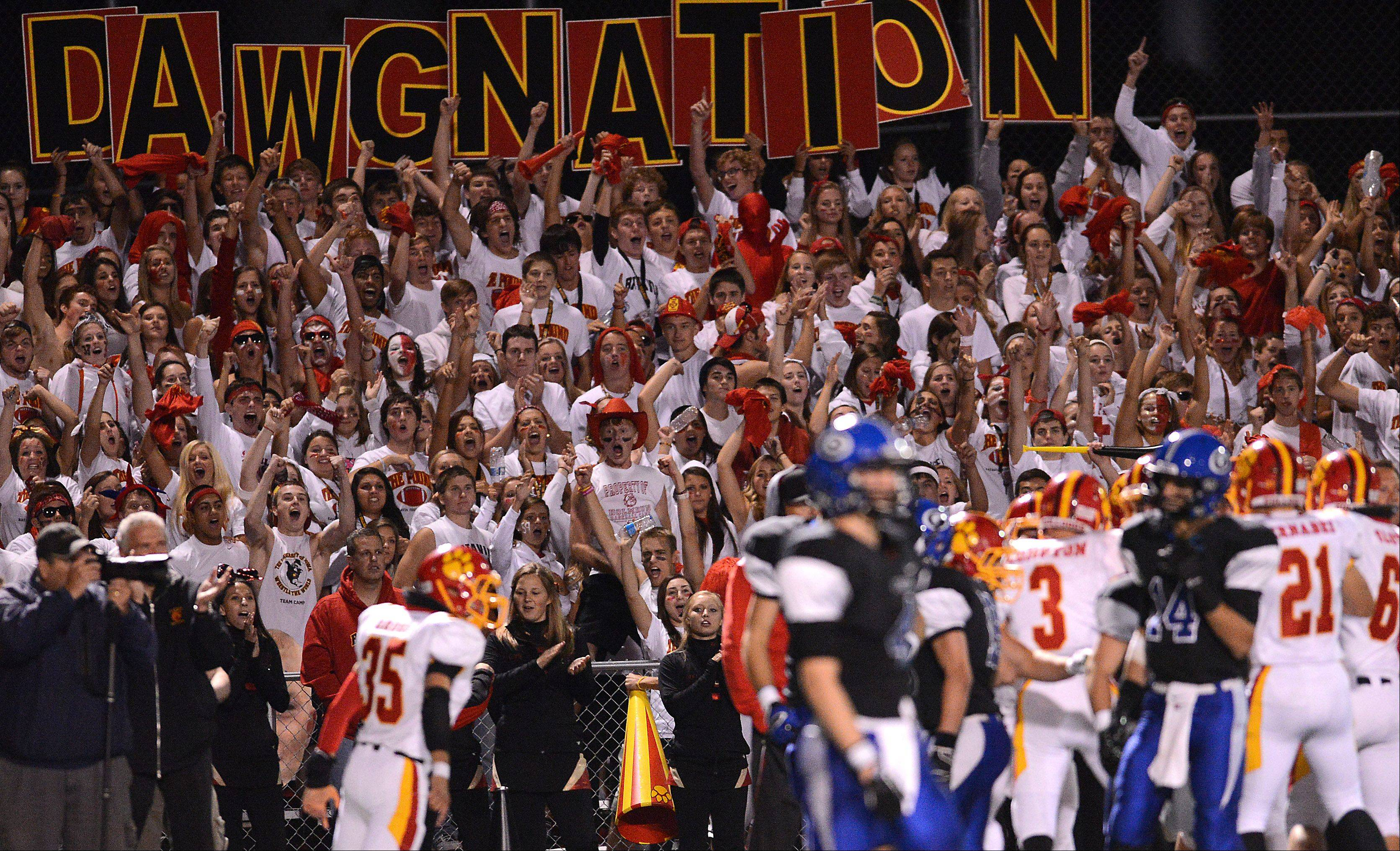 Batavia fans erupt after the Bulldogs recover their own kickoff in the second half.