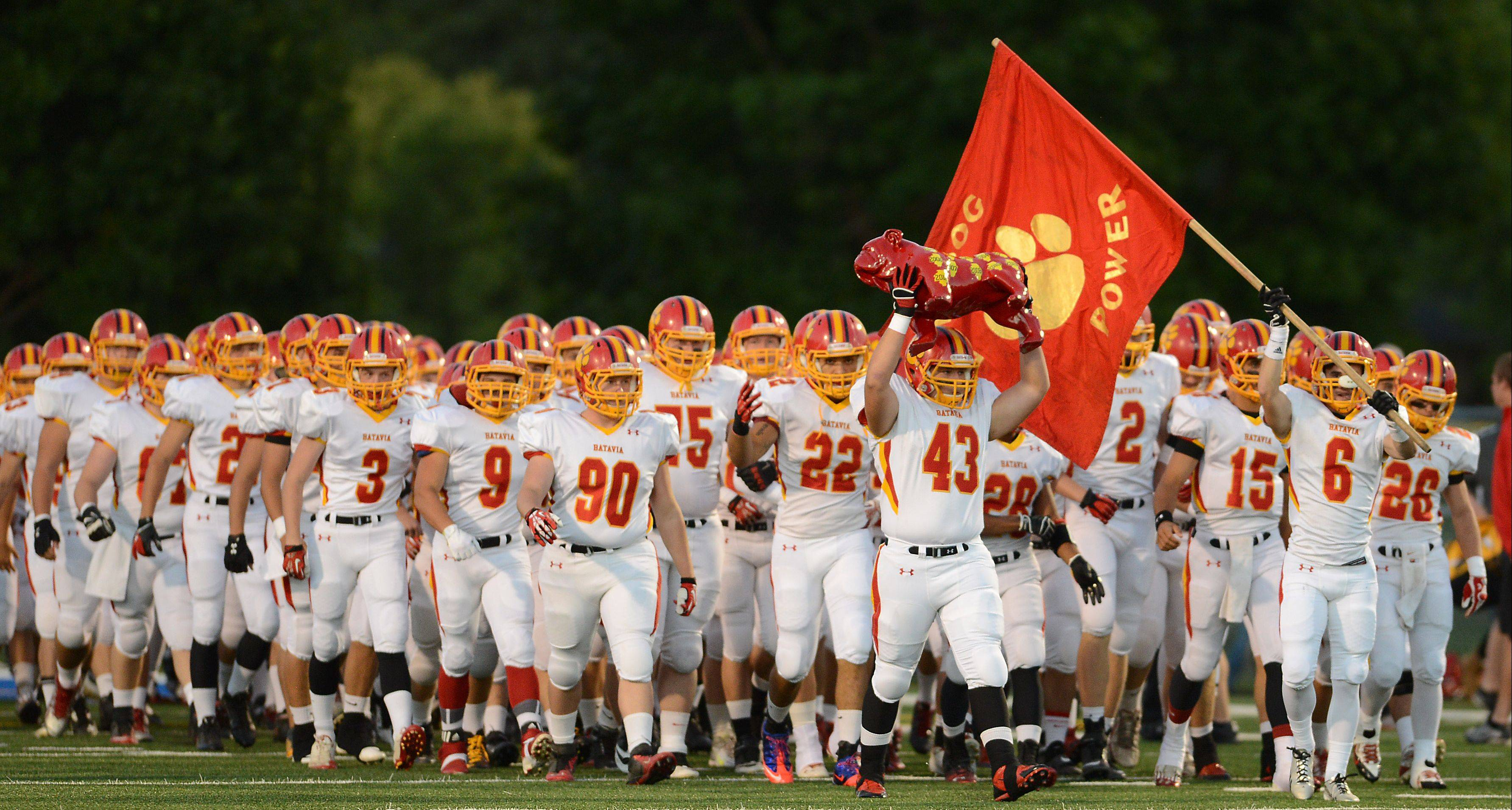 Batavia gets ready to take the field Friday at Geneva.
