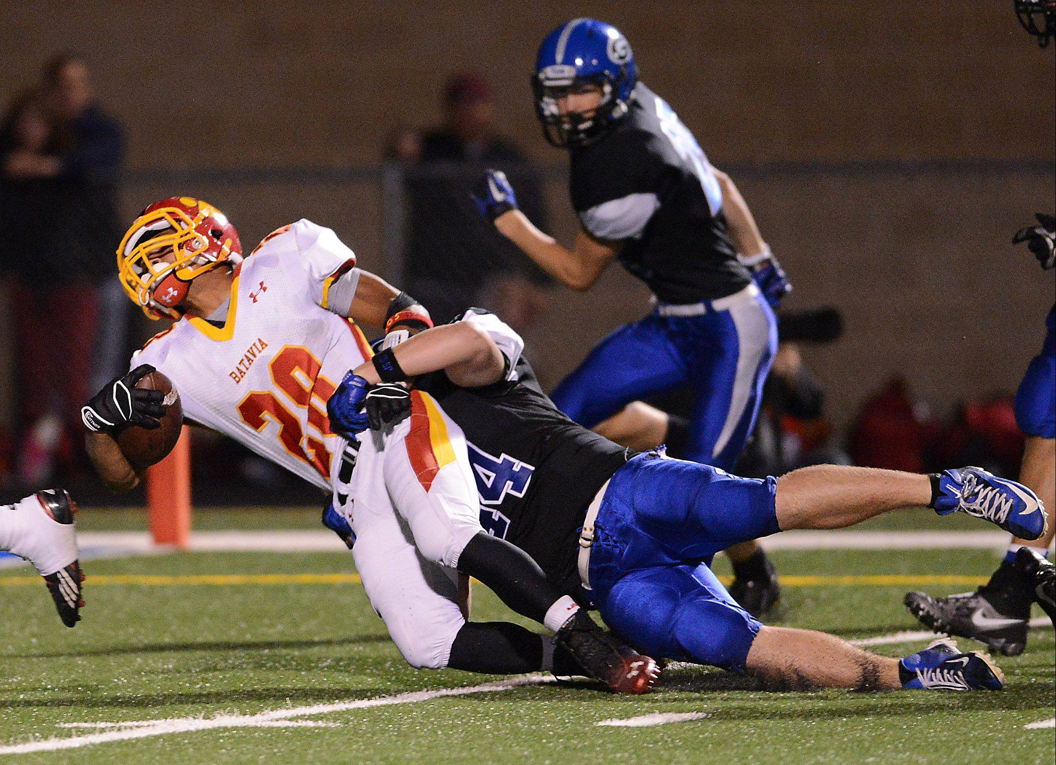 This was one of two touchdowns for Batavia senior Anthony Scaccia on Friday at Geneva.