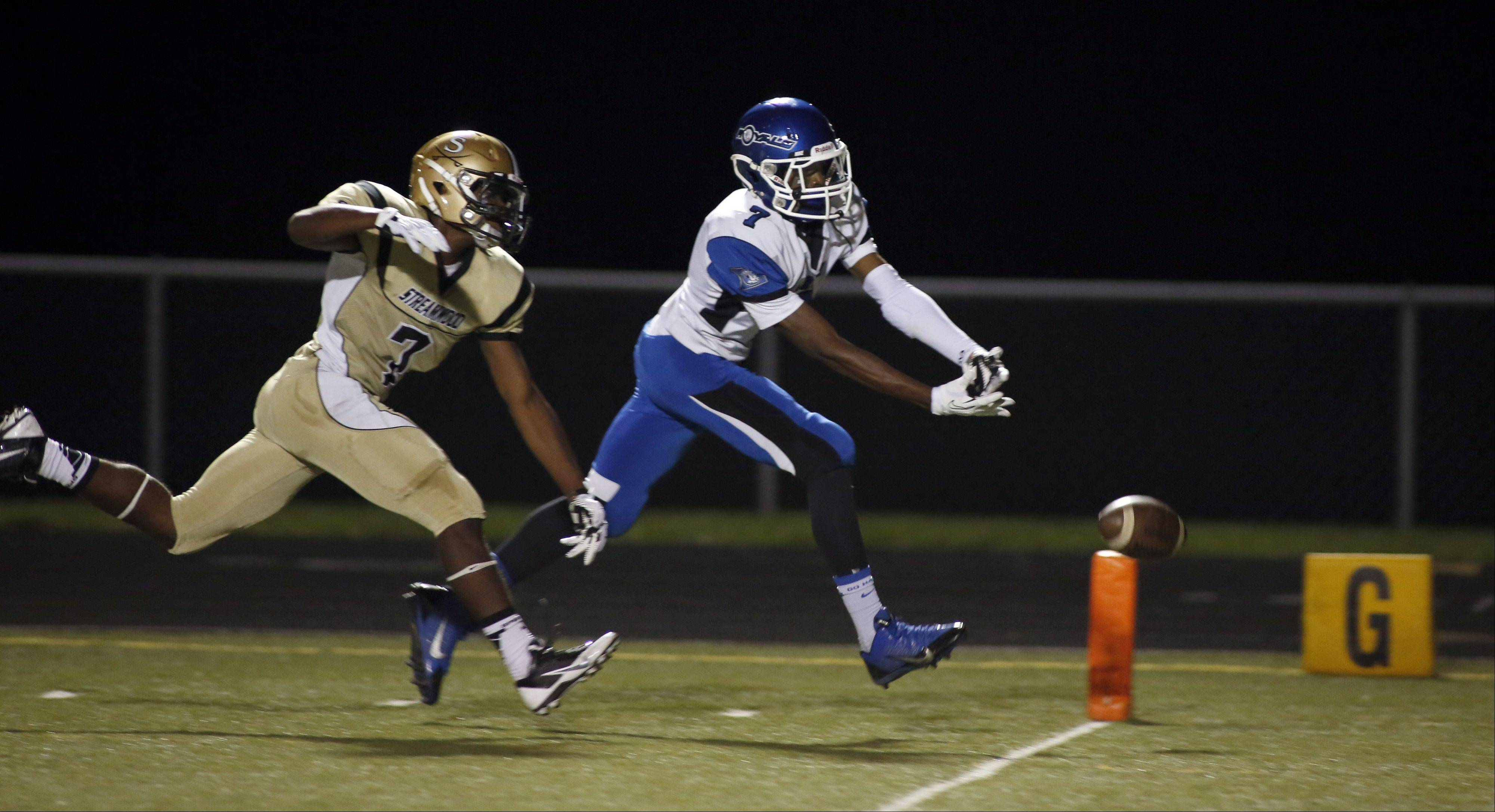 Streamwood's Cody Jayko tries to defend a pass to Larkin's Dante Bonds.