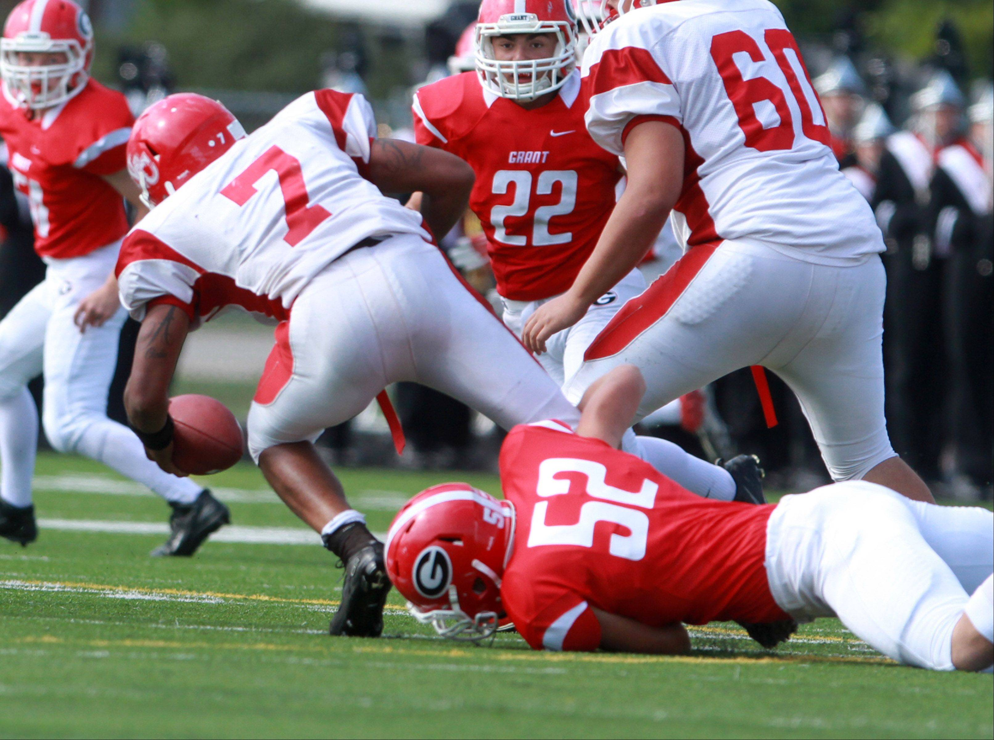 Grant defensive end Patrick Purvin sacks North Chicago quarterback Arnold Shead at Grant on Saturday.