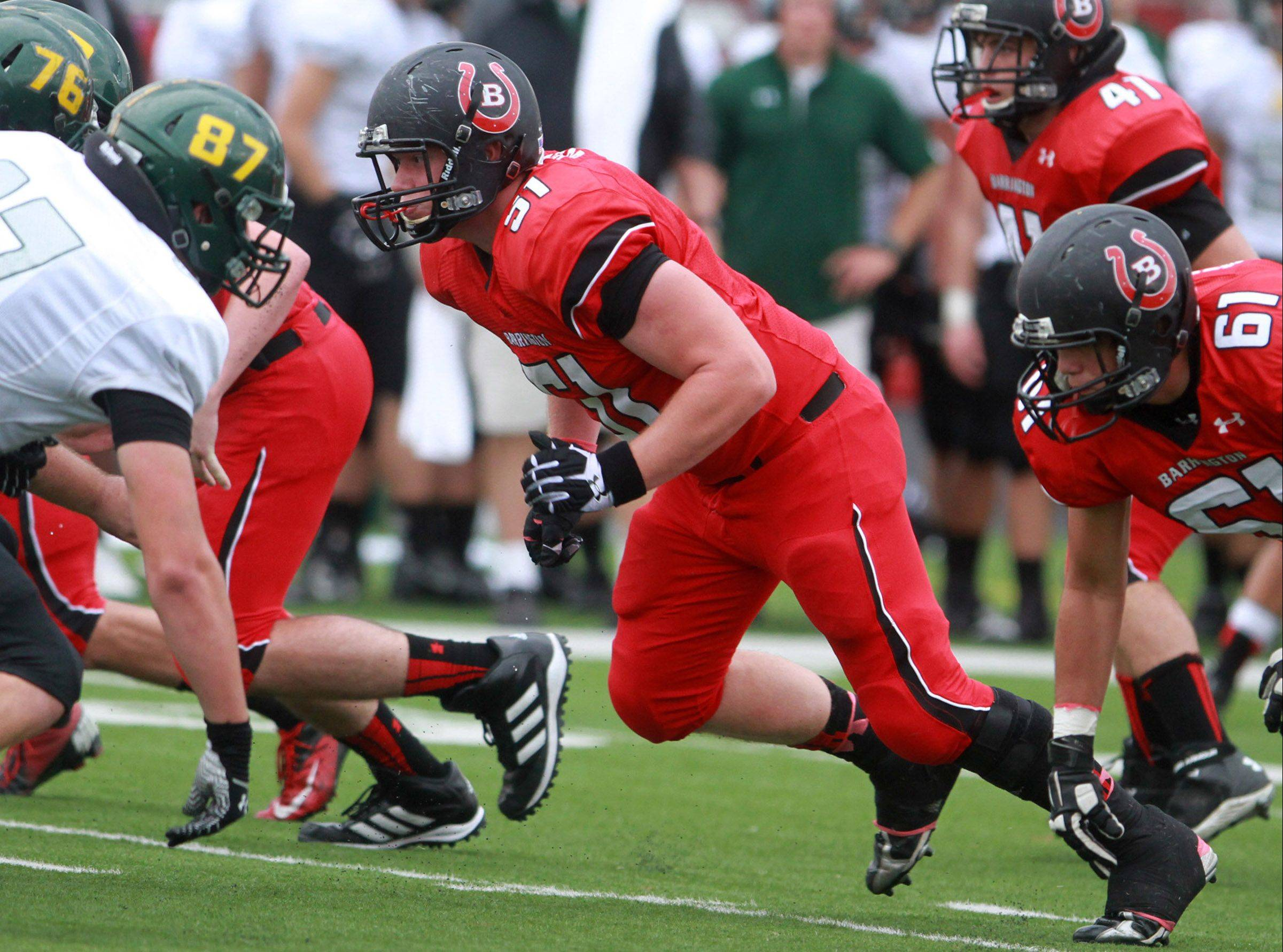 Barrington's Jacob Bulandr looks for the ball-carrier during Saturday's game against visiting Fremd.
