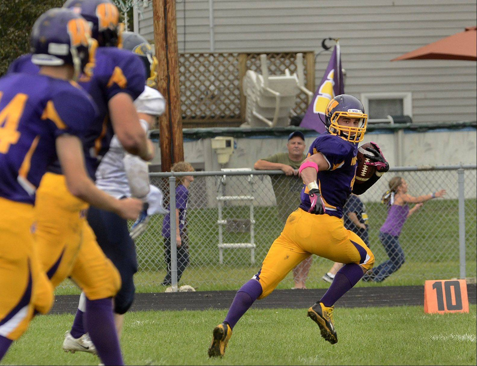Michael Prate of Wauconda is off to the races on his way to his first touchdown against Round Lake on Saturday.