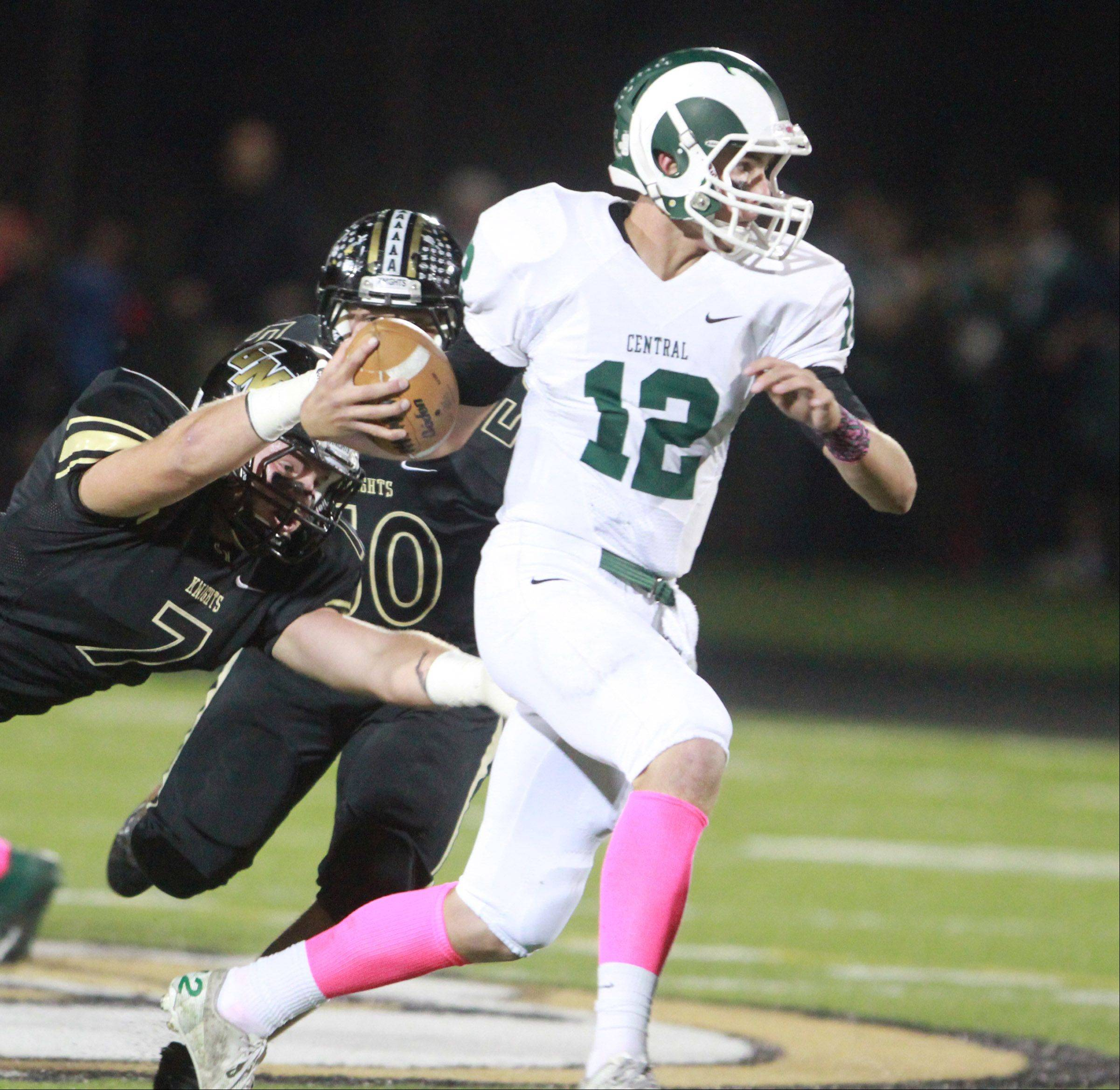 Grayslake Central quarterback Alex Lennartz runs the ball.