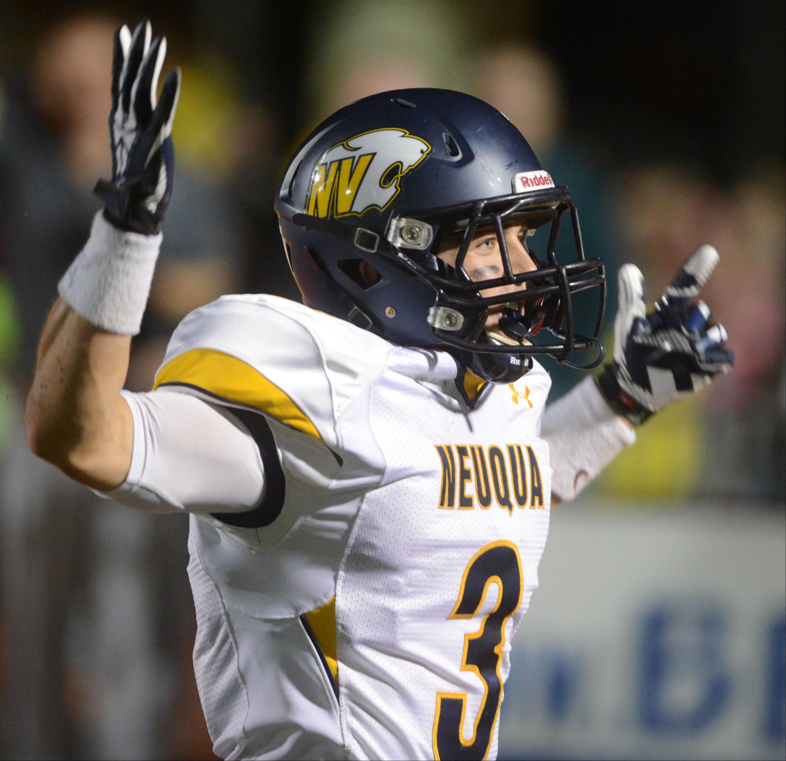 Mikey Dudek of Neuqua Valley celebrates a touchdown.