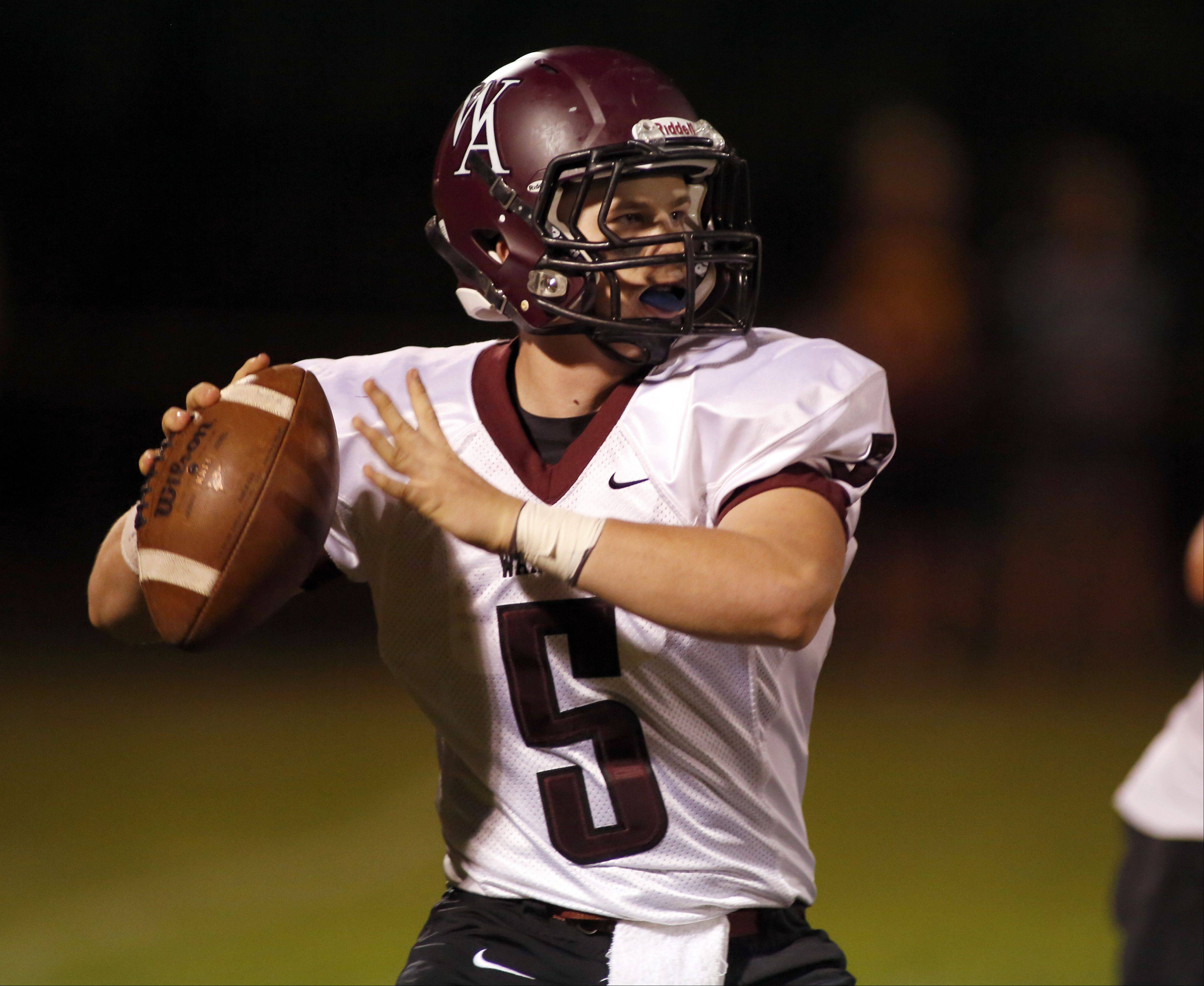 Wheaton Academy's David Thrasher looks for an opening.