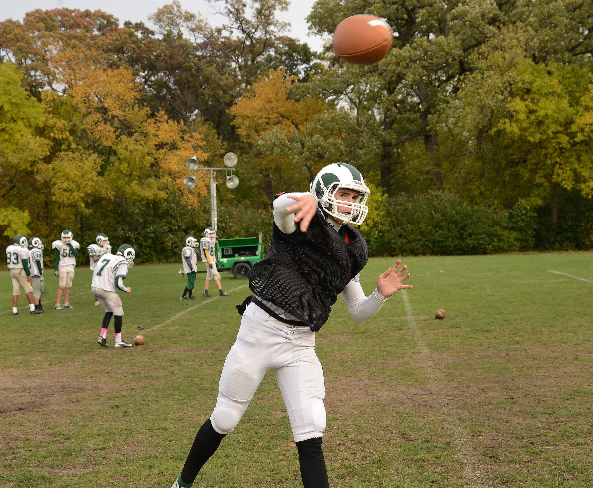Grayslake Central quarterback Alex Lennartz delivers during practice this week.