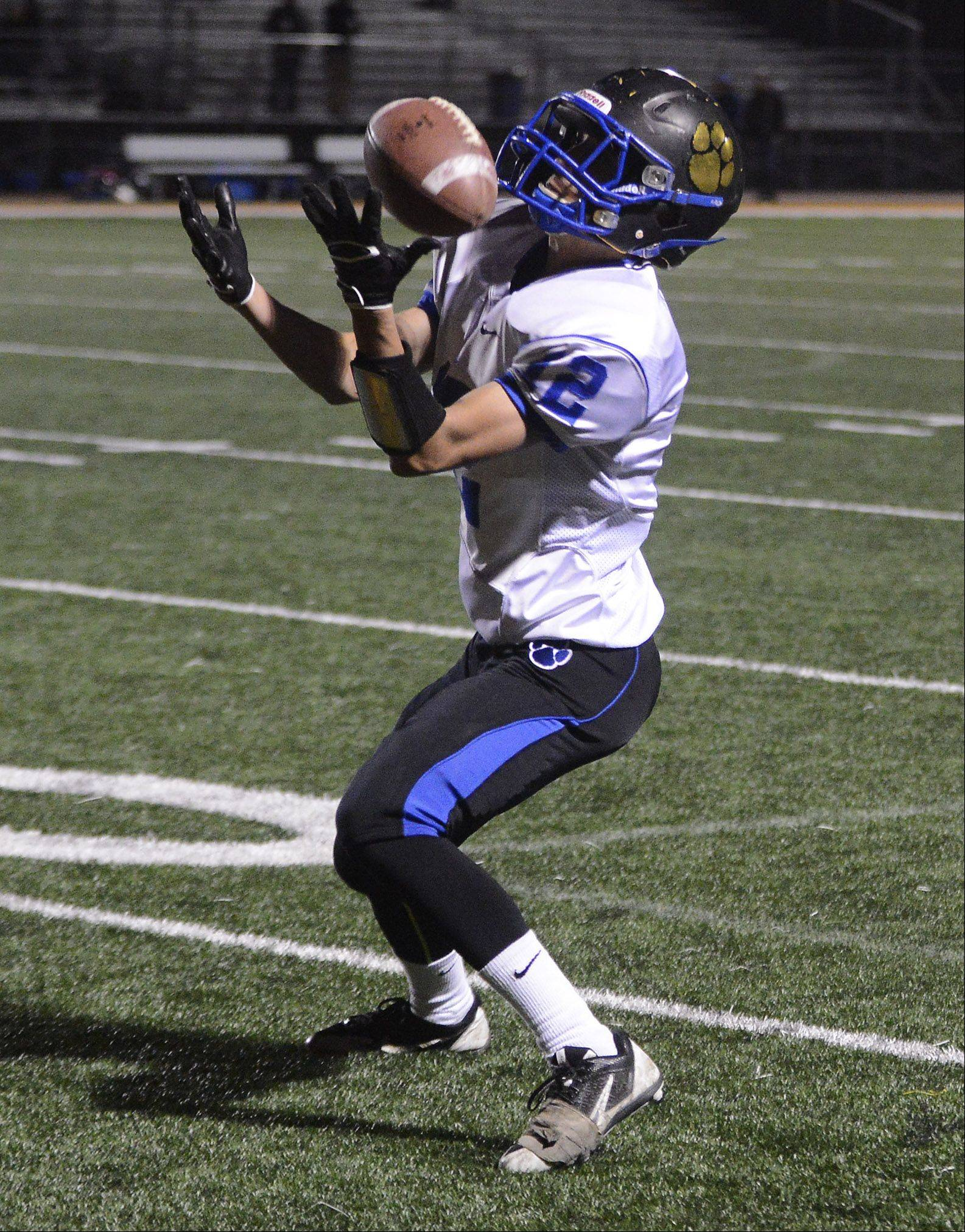 Wheeling's Max Chung collects a pass that bounced off his body.