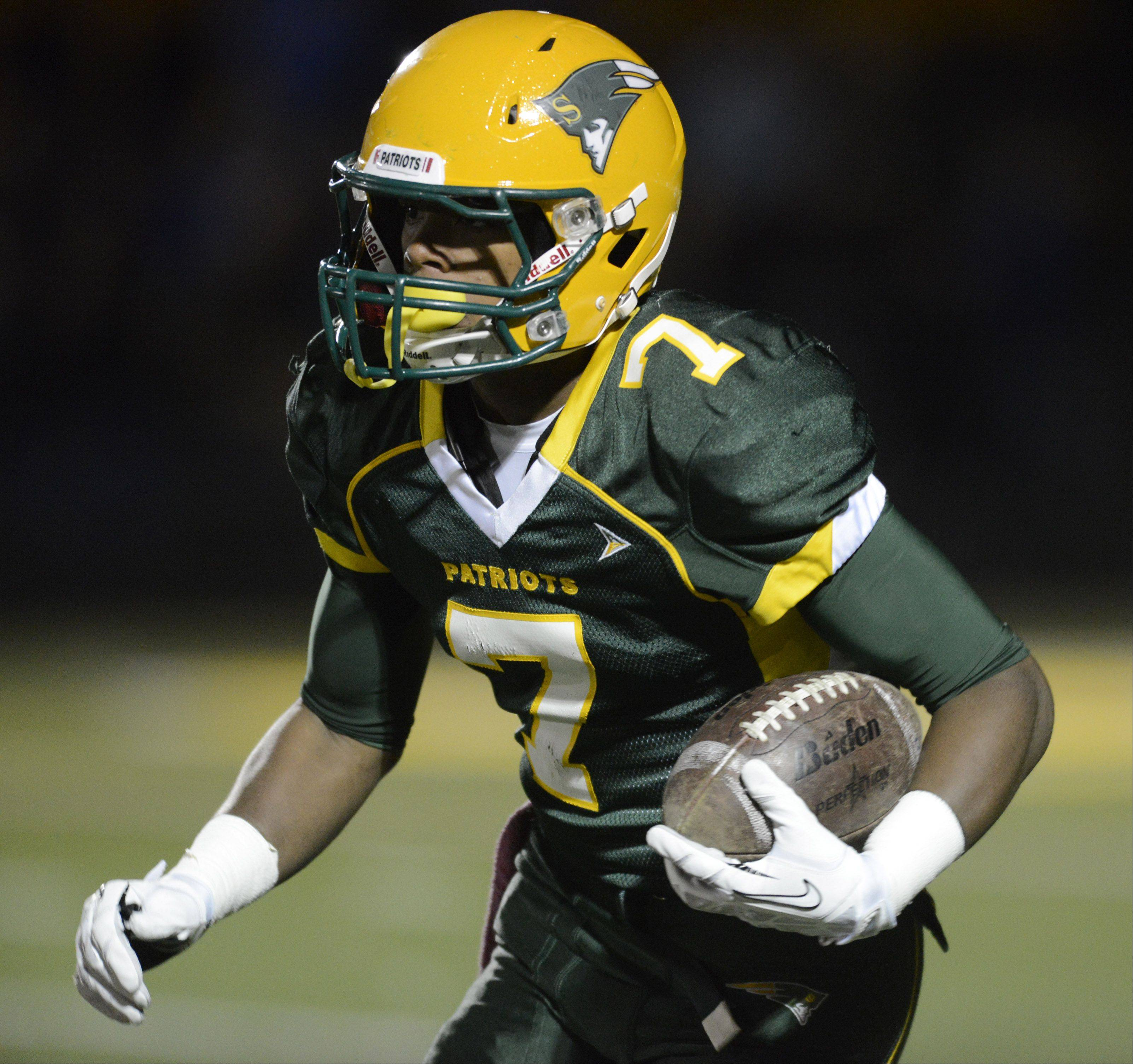 Stevenson's Cameron Green carries the ball on a kickoff return.