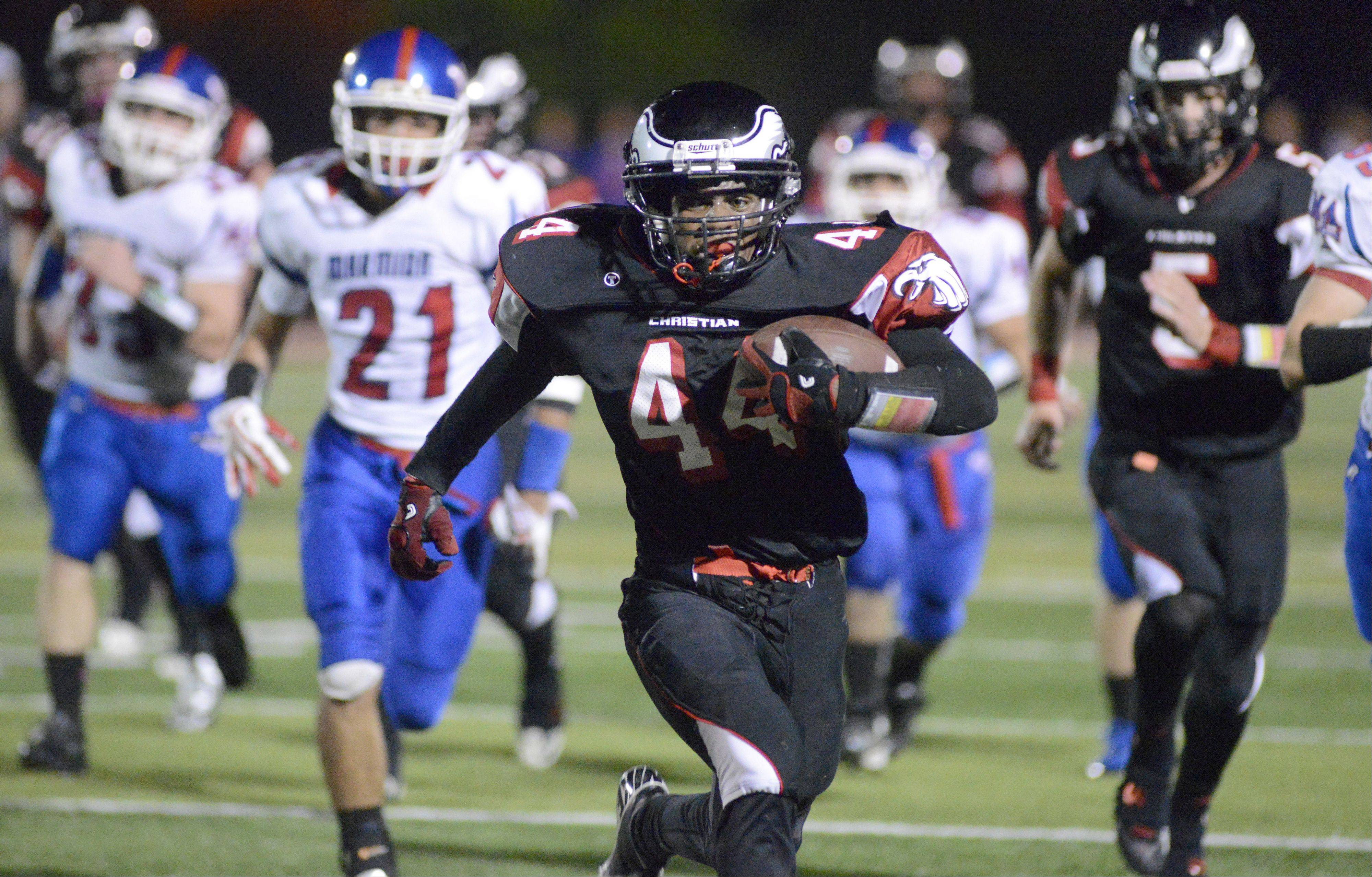Aurora Christian's Legend Smith sprints to the end zone in the second quarter on Friday, October 4.