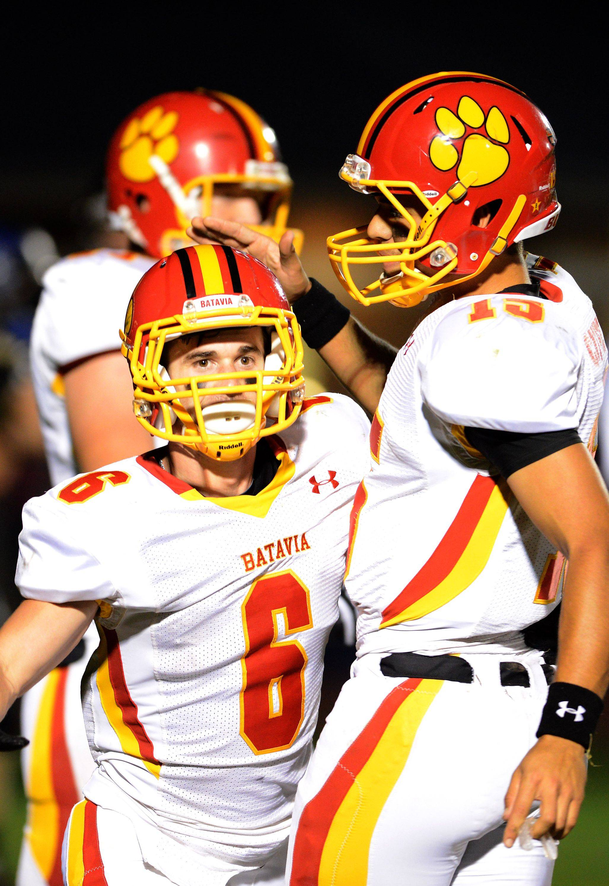 Rourke Mullins and Micah Coffey connected for a touchdown in Batavia's win last week over Elgin and will look to put many more points on the board in its playoff opener Friday against DeKalb.