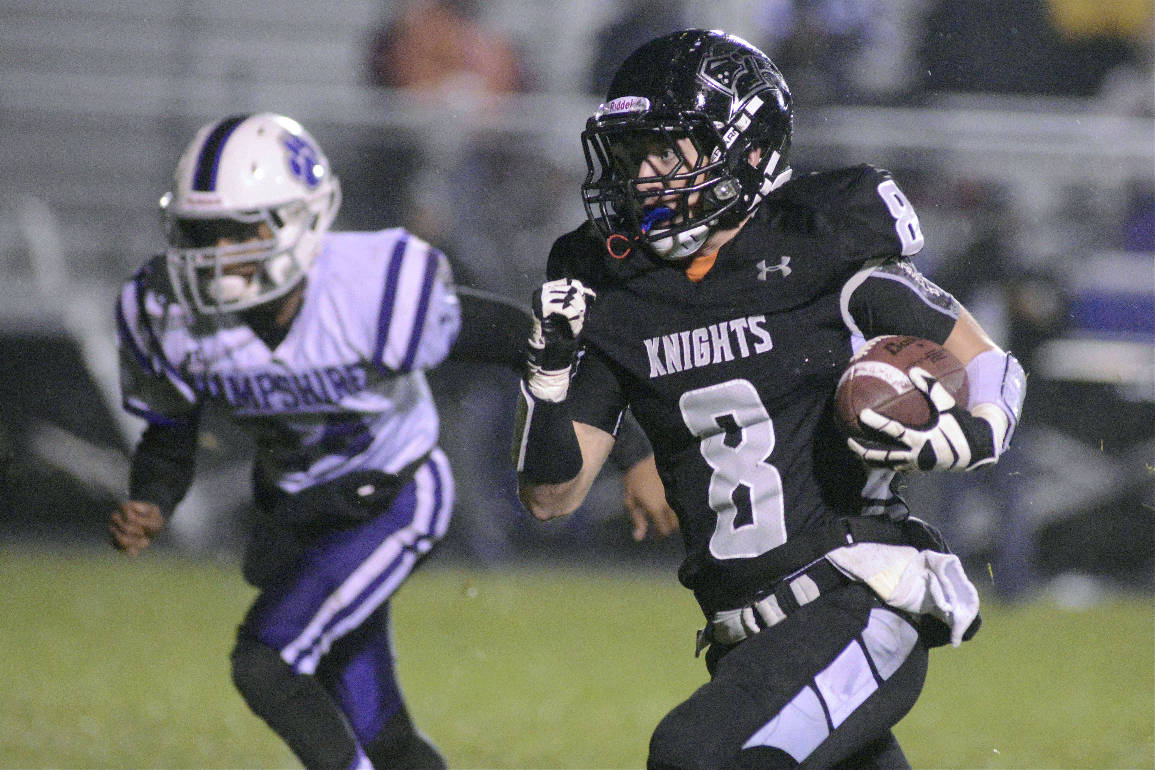 Kaneland's Brandon Bishop makes his way to the end zone in the second quarter on Friday, November 1. His touchdown was recalled, but the Knights completed the touchdown a few minutes later.