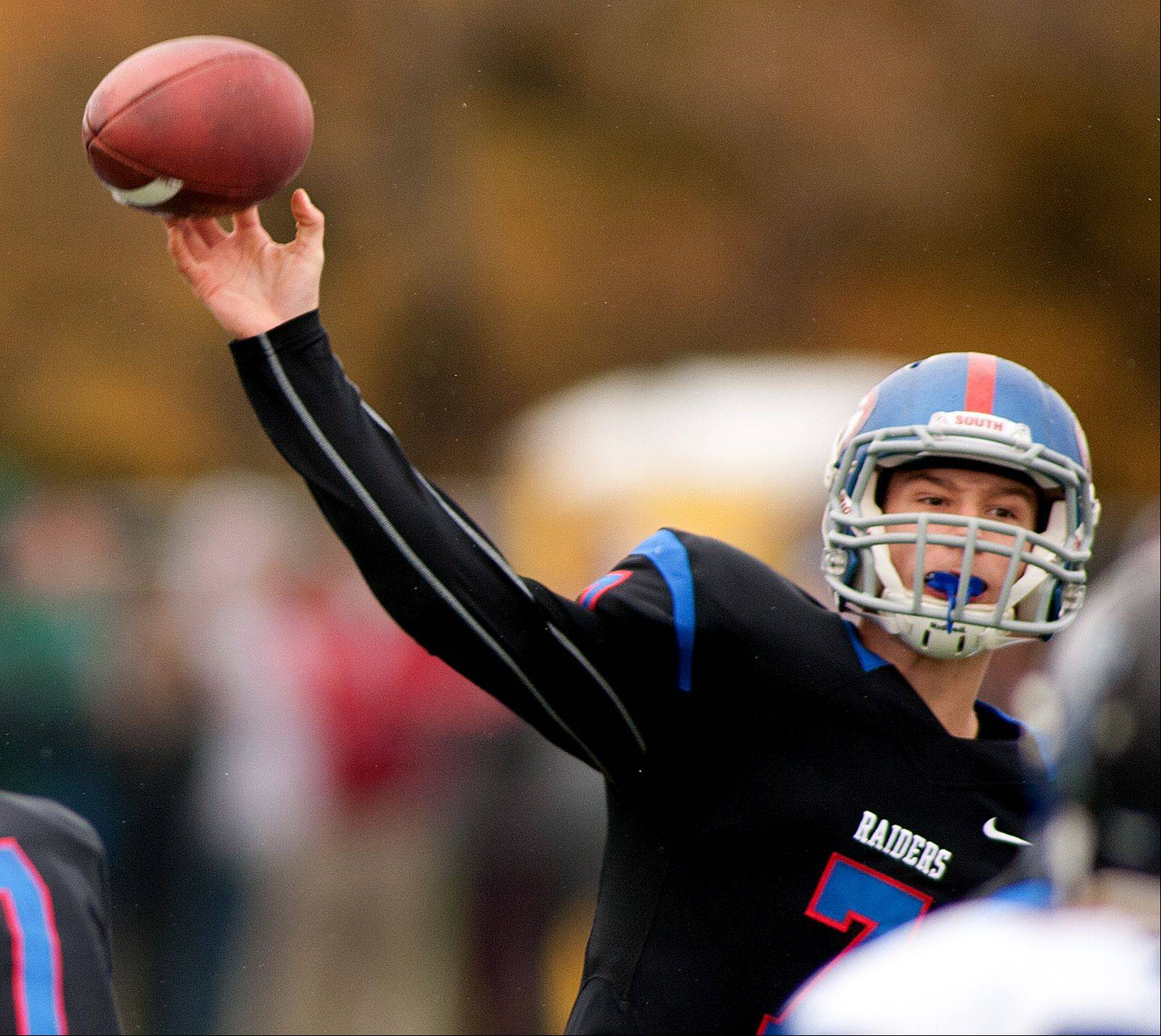 Glenbard South quarterback Alex Jeske delivers a pass against St. Francis.
