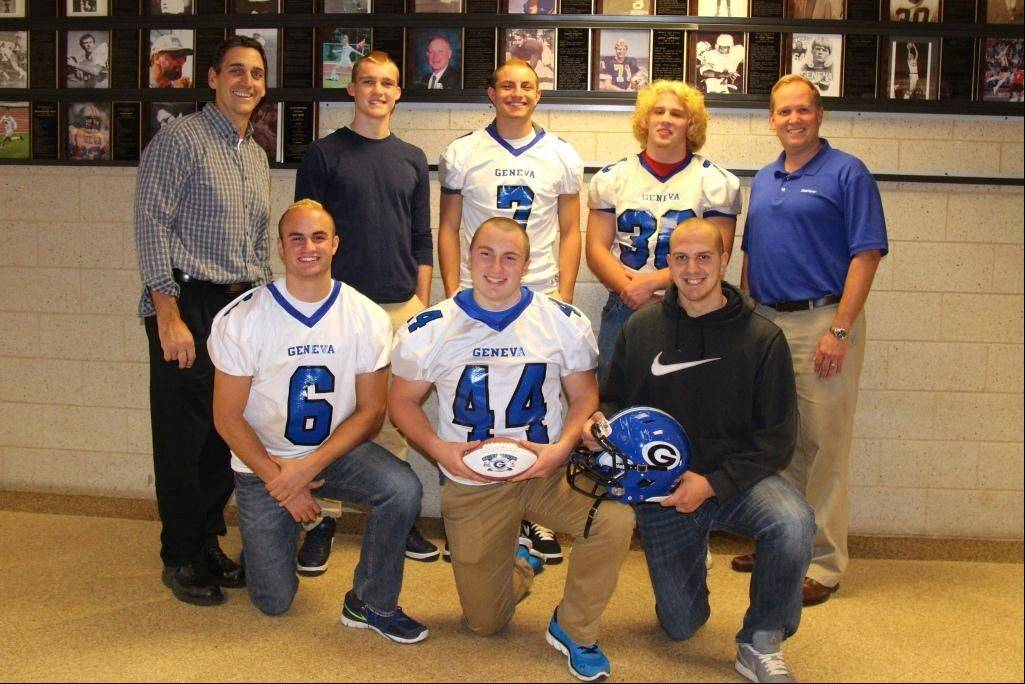 BACK ROW (left to right): GHS Head Football Coach Rob Wicinski, Pace Temple (Week 1), Daniel Santacaterina (Weeks 5 & 7), Stephen Kemp (Week 3), State Farm Agent Bill Nelson  FRONT ROW (left to right): T.J. Miller (Weeks 4, 6 & 9), Wyatt Shodeen (Week 2), Joe Boenzi (Week 8)