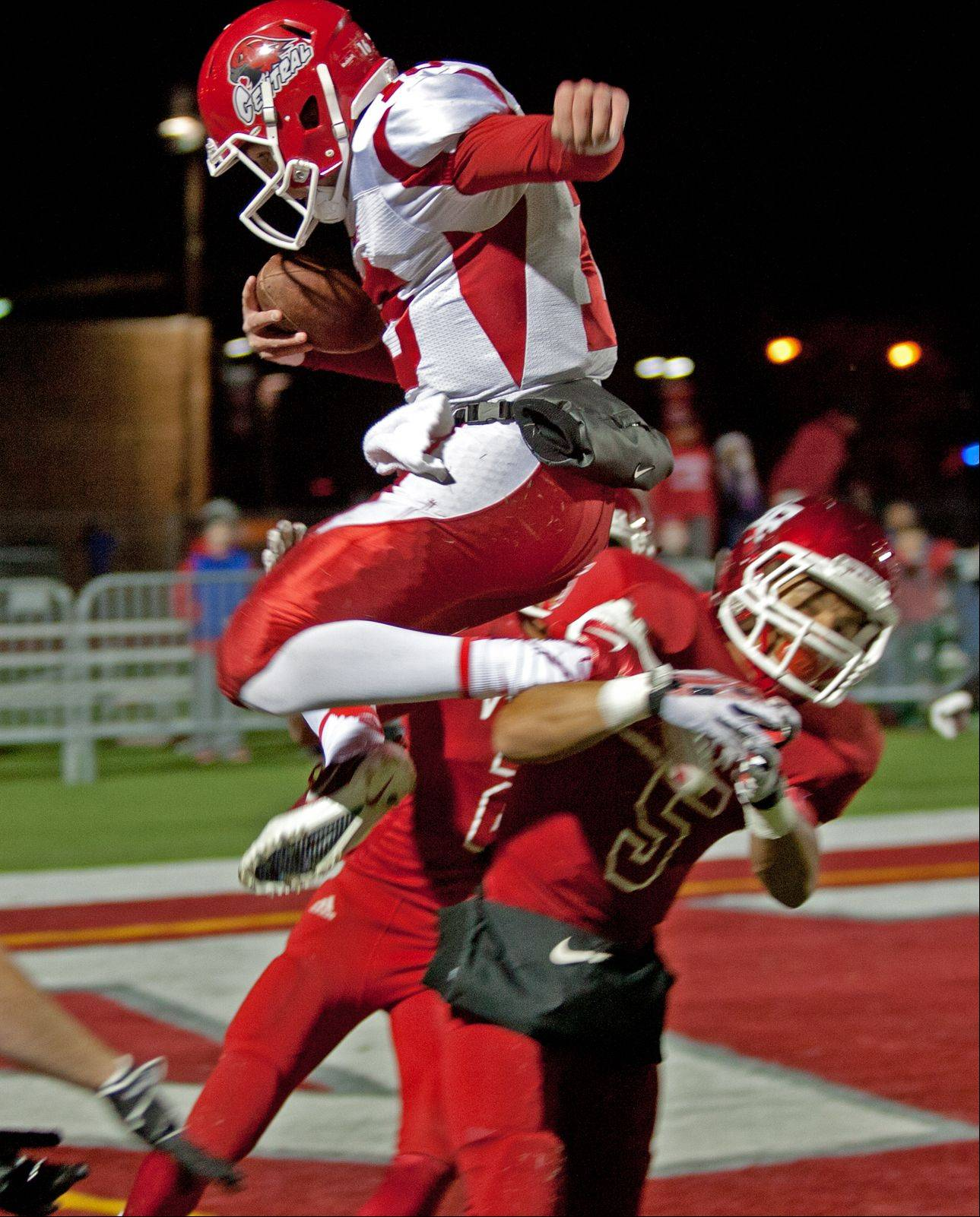Naperville Central quarterback Jake Kolbe is called on a personal foul, late in the fourth quarter.