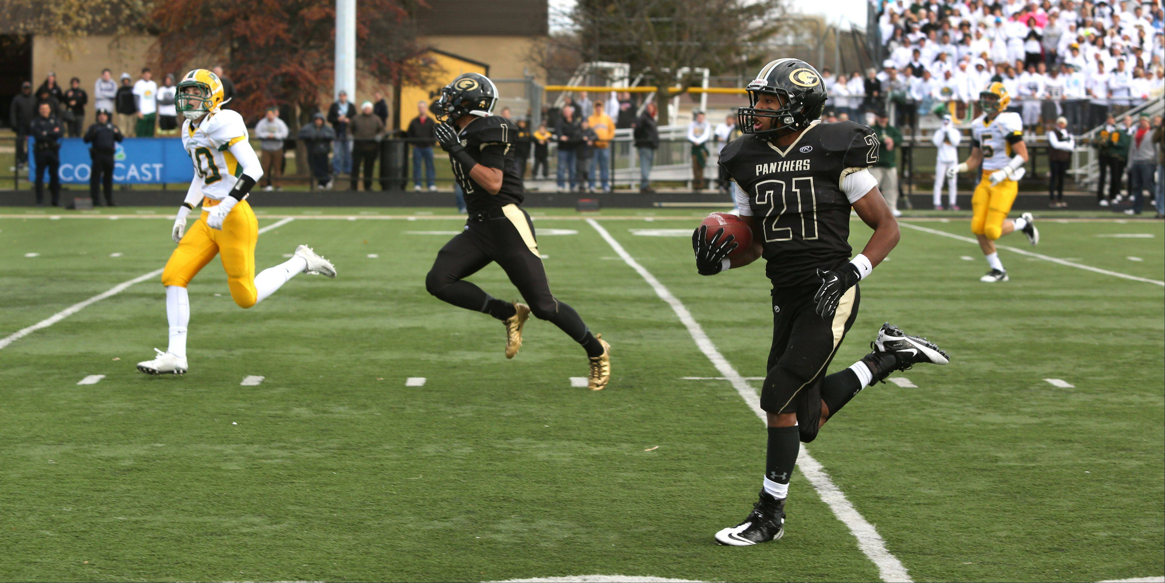 Glenbard North's Justin Jackson eyes the end zone for one of his two touchdown runs on the day.