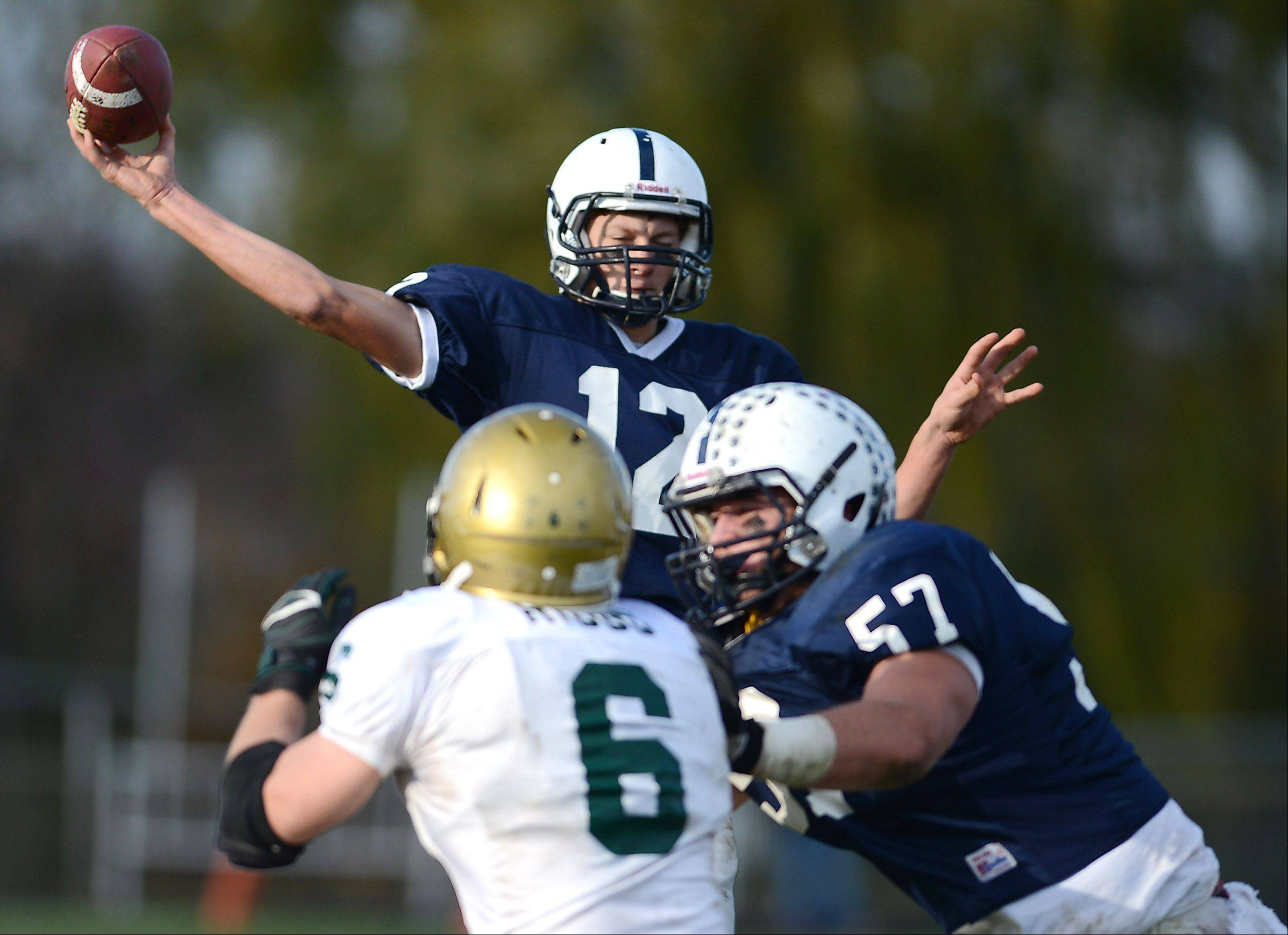 Cary-Grove's Jason Gregoire (12) throws a third-quarter touchdown pass during Saturday's game in Cary.