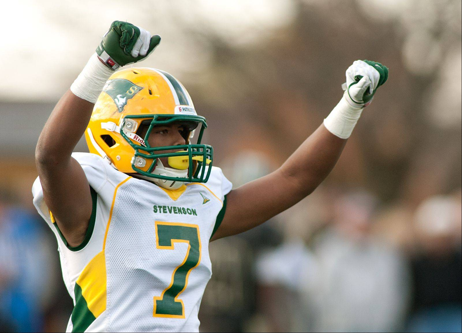 Stevenson's Cameron Green celebrates the Patriots' 20-16 win over Glenbard North in the Class 8A playoffs Saturday.