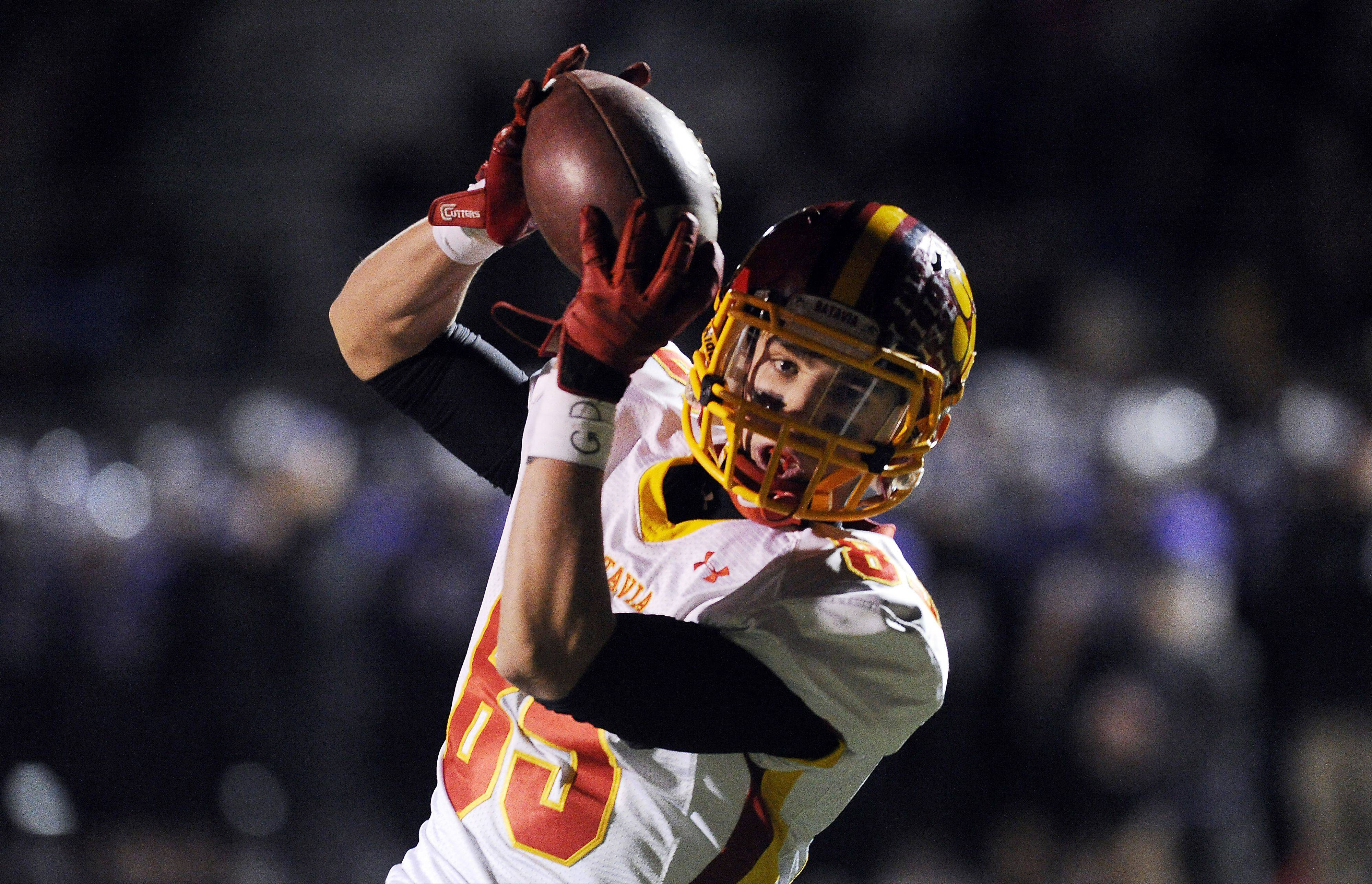 Batavia's Jordan Zwart hauls in a second-quarter touchdown as Rolling Meadows' defense was unable to stop him in the second-round game of the Class 6A playoffs at Rolling Meadows High School on Saturday.