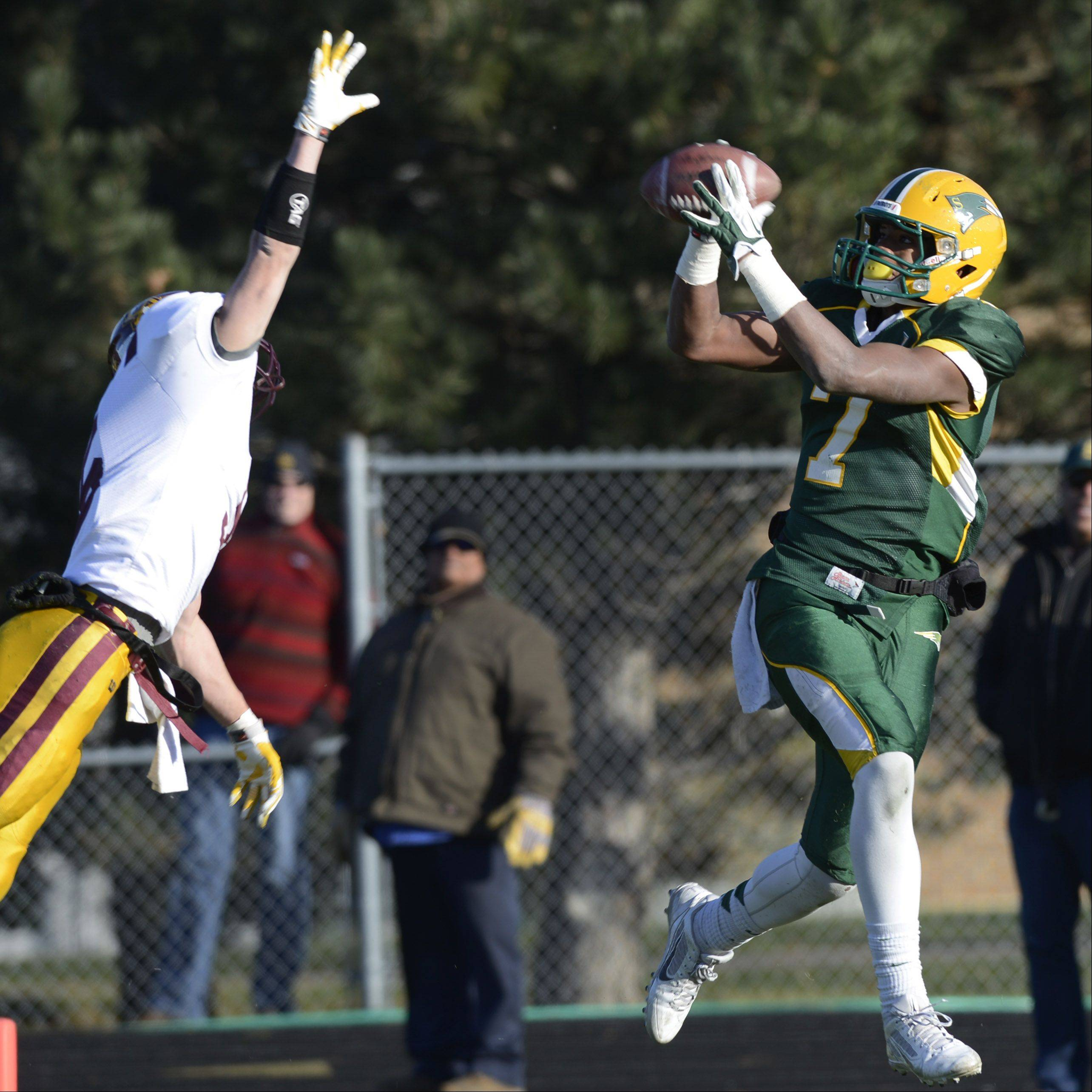Stevenson's Cameron Green makes a touchdown catch in front of Loyola's Jack Gleason during Saturday's class 8A semifinal in Lincolnshire.