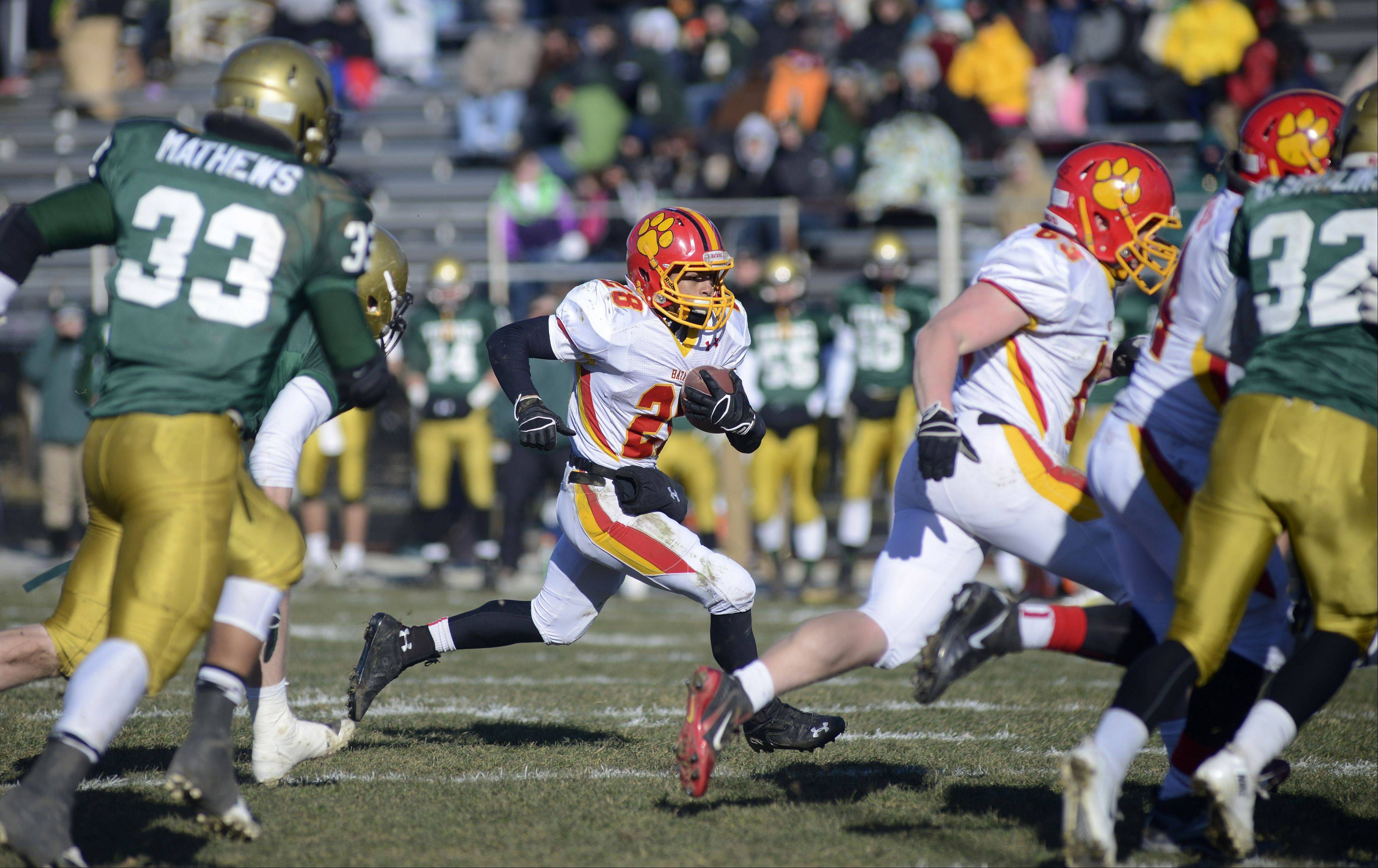 Batavia's Anthony Scaccia sprints down the field in the second quarter of Saturday's Class 6A semifinal game Saturday in Rockford. He scored three times and finished with 184 yards on 41 carries.