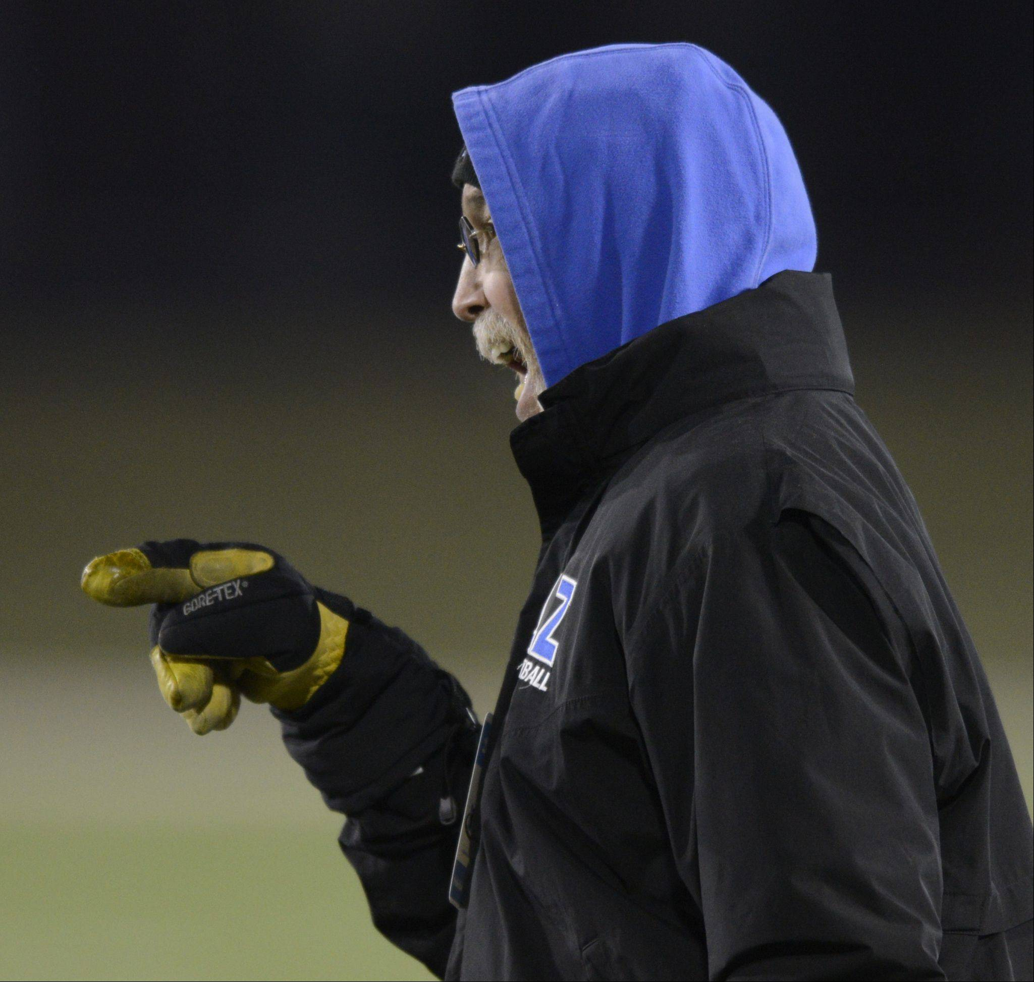 Lake Zurich coach Dave Proffitt follows the action in Saturday's Class 7A state championship game against Mt. Carmel.