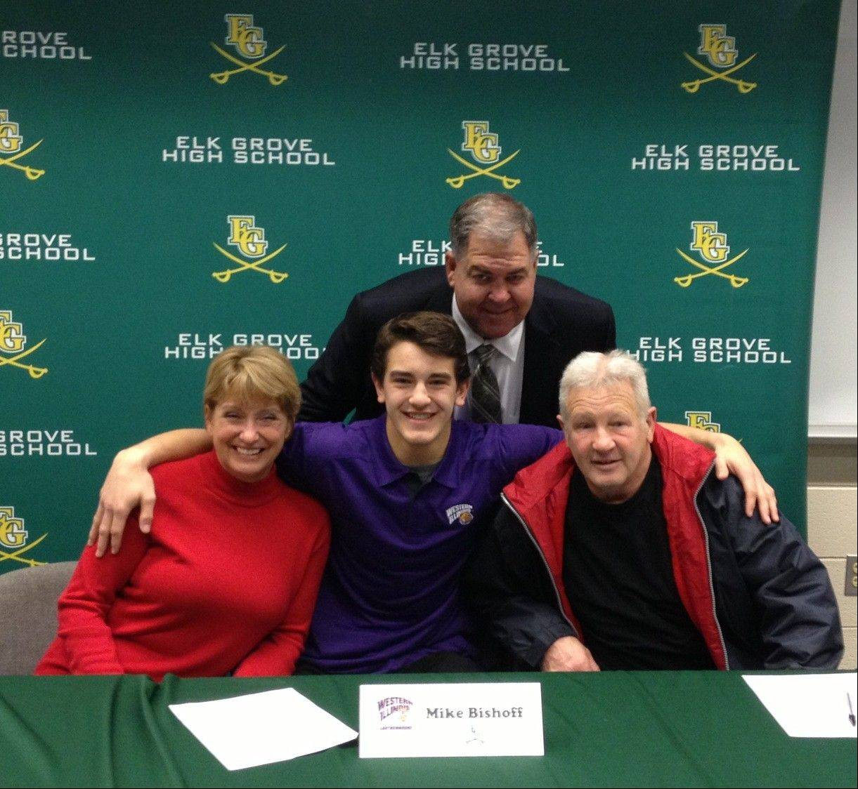Elk Grove's Mike Bishoff, flanked by his parents, will play college football at Western Illinois.