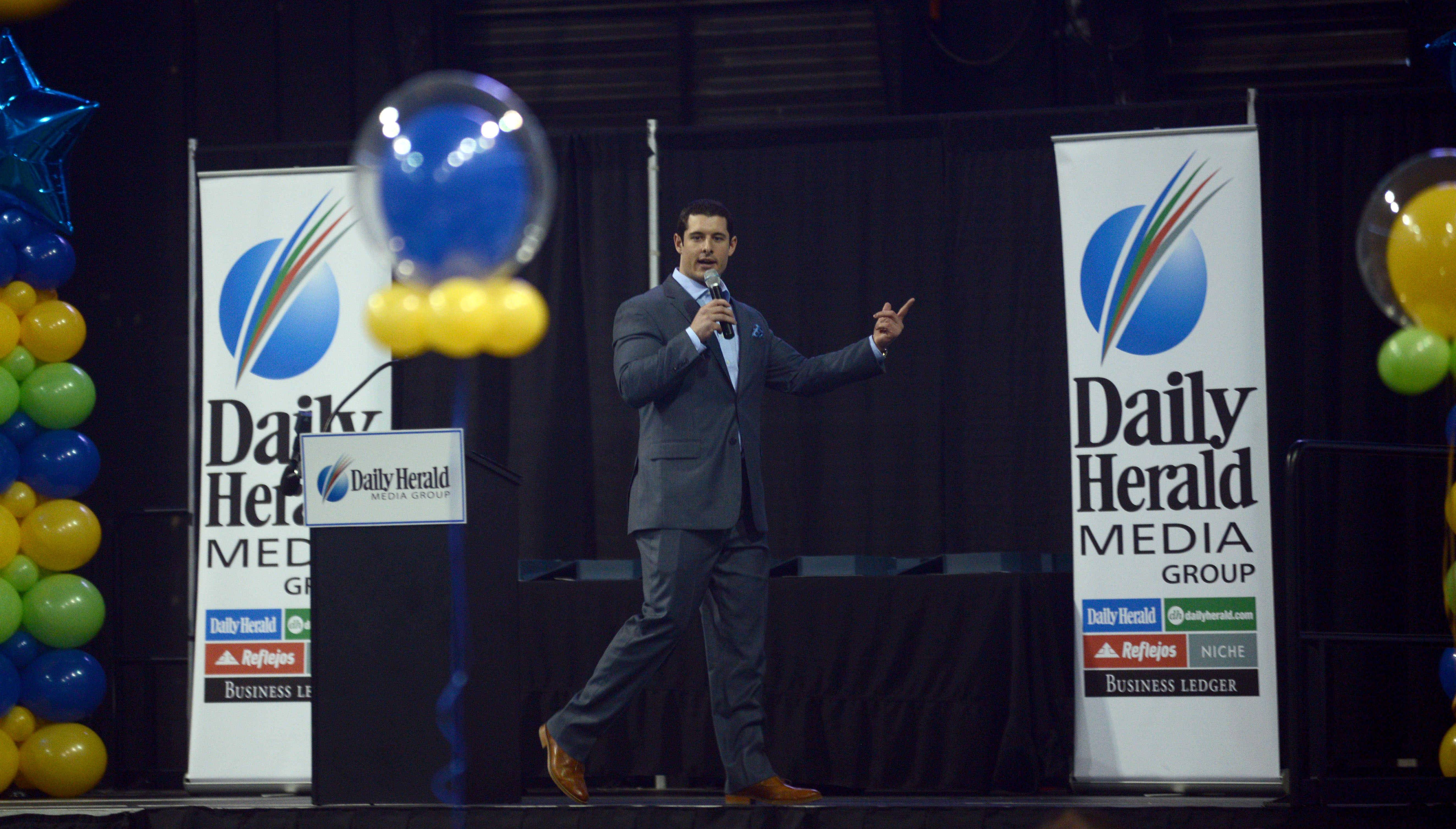 Keynote speaker Matt Mayberry talks about learning from failure with the area's top prep athletes at the Daily Herald Prep Sports Excellence event.