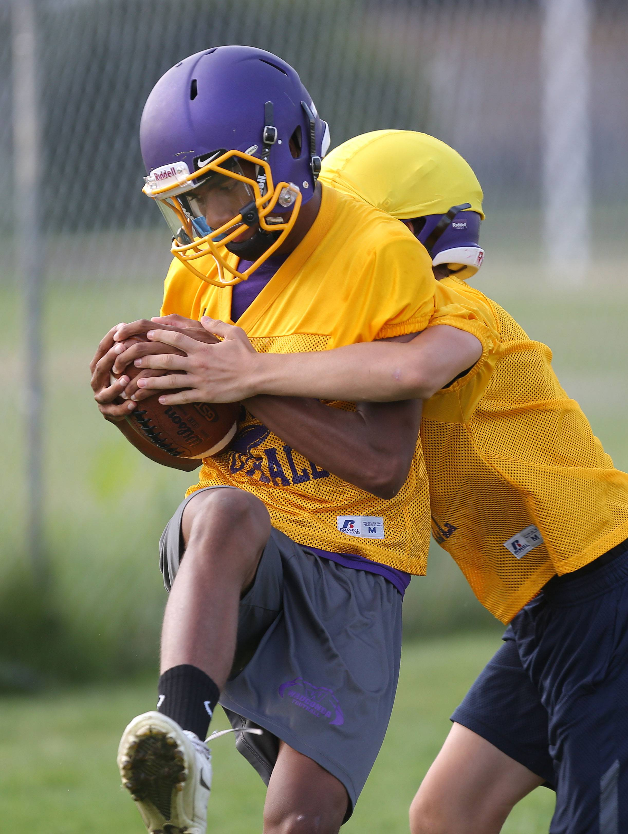 Josh Anderson makes a catch during football practice Monday at Wauconda High School.