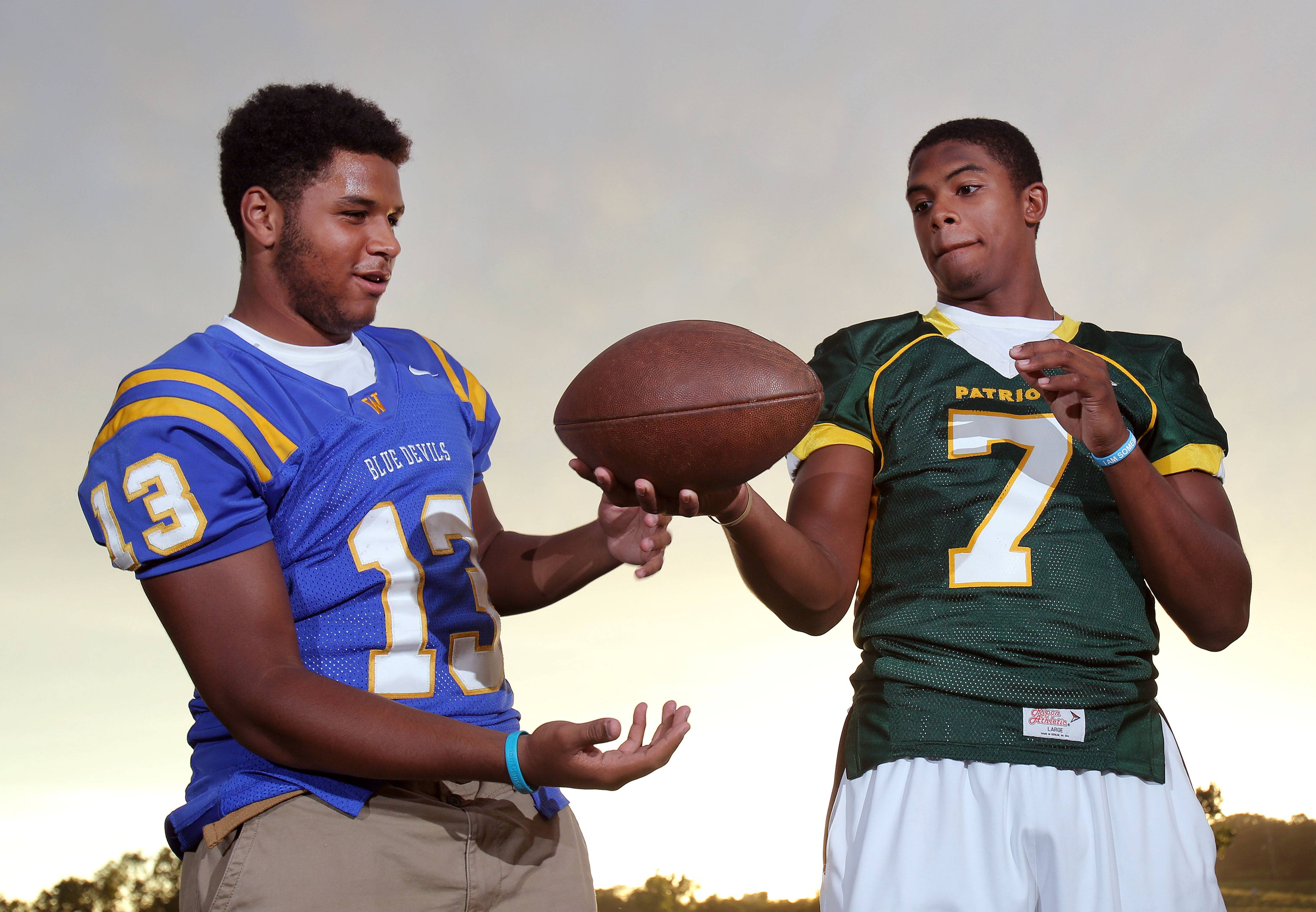 Senior wide receivers Caleb Reams of Warren, left, and Cameron Green of Stevenson are friendly rivals. They're also and the kind of players that are helping even Lake County high school football become centered around the passing game.