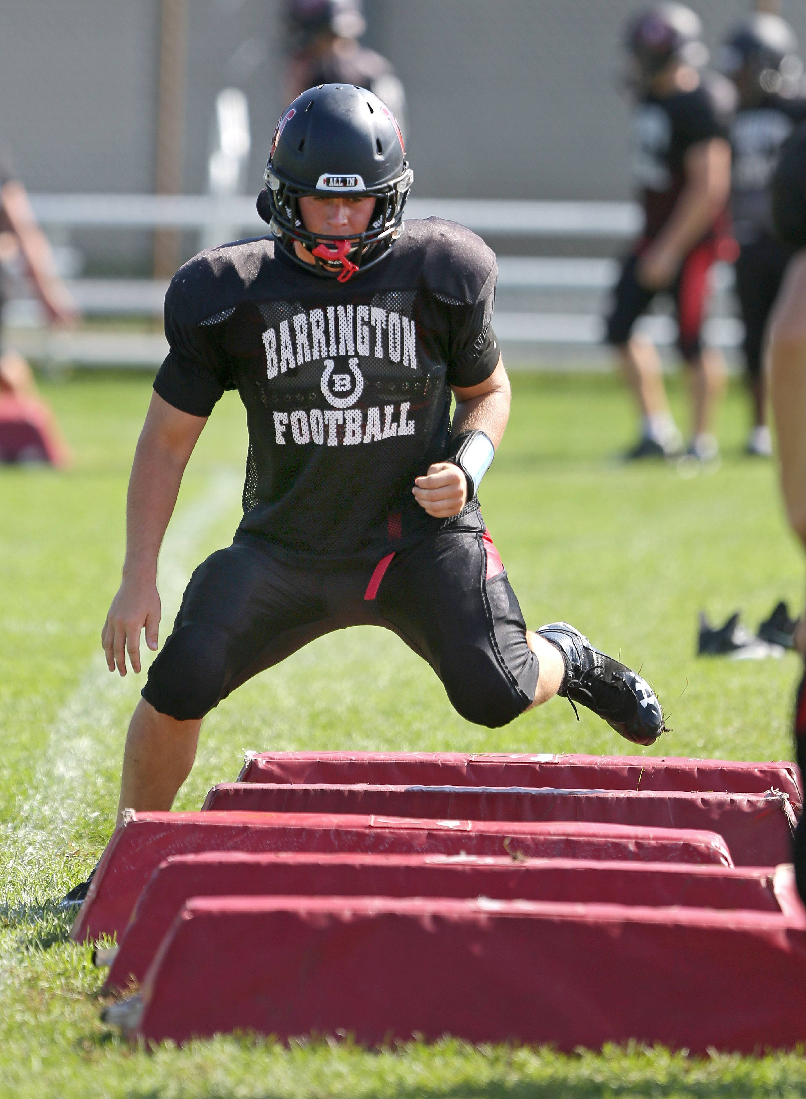 Senior linebacker Jake Coon goes through drills on Wednesday at Barrington.