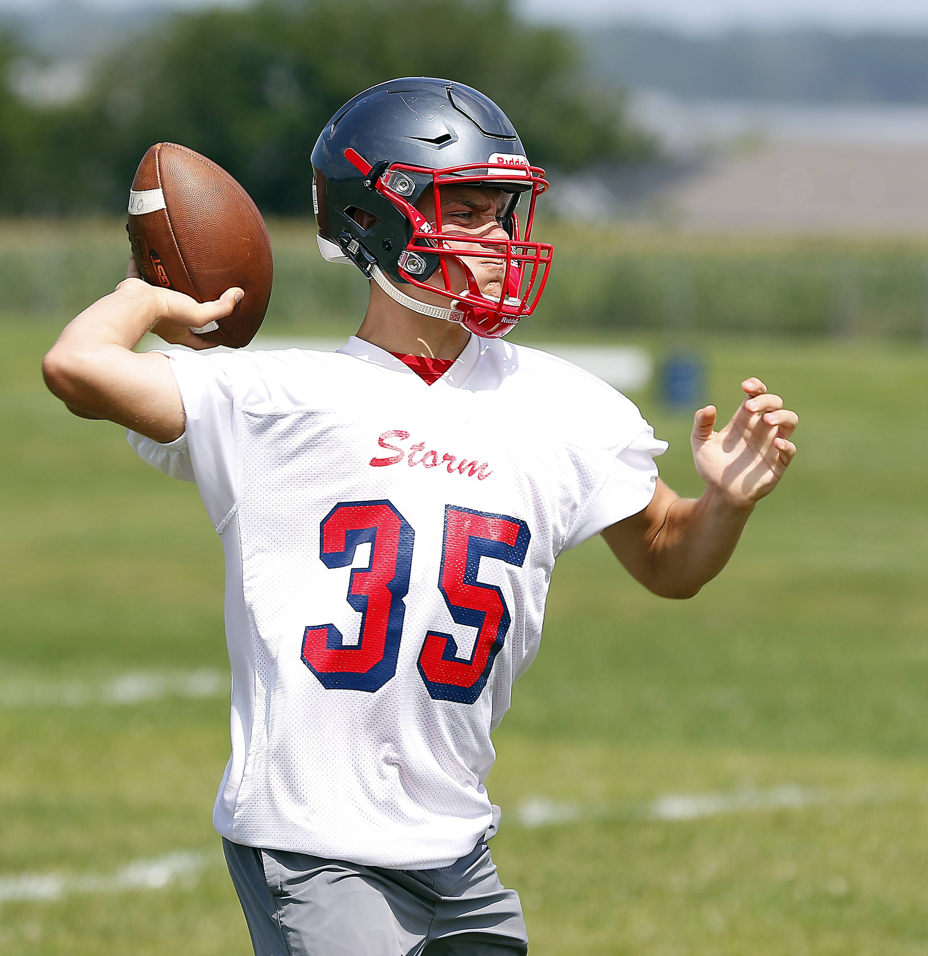 Quarterback Nate Smith Monday during South Elgin football practice.
