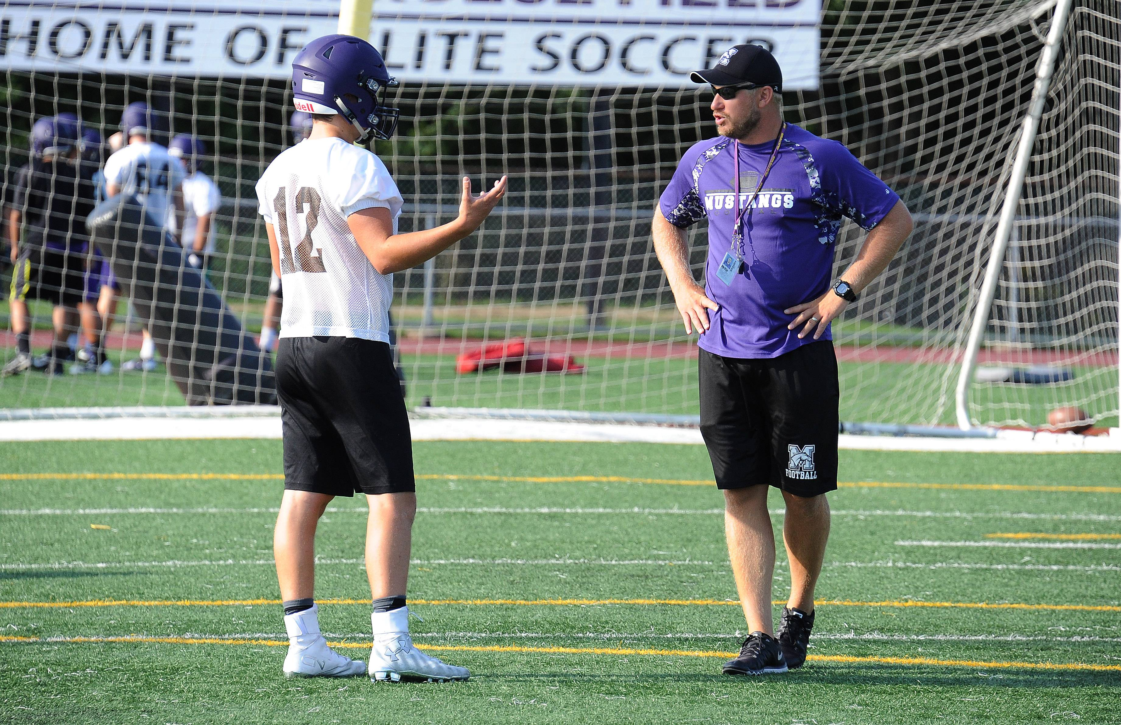 Quarterback Asher O'Hara and coach Matt Mishler prepare for the season ahead.