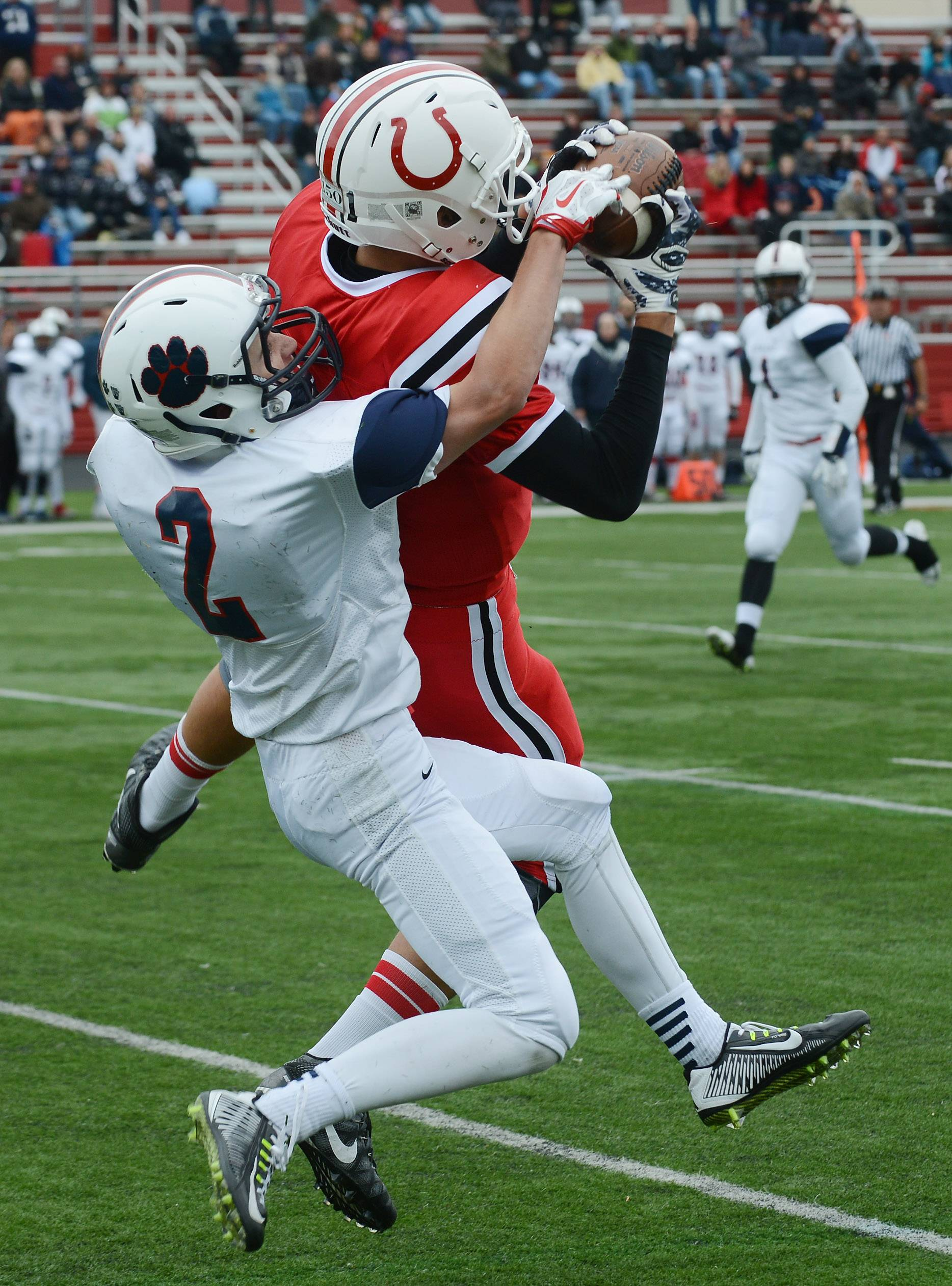 The return of players such as Josh Babicz, here making a grab against Conant last fall, bodes well for Barrington.