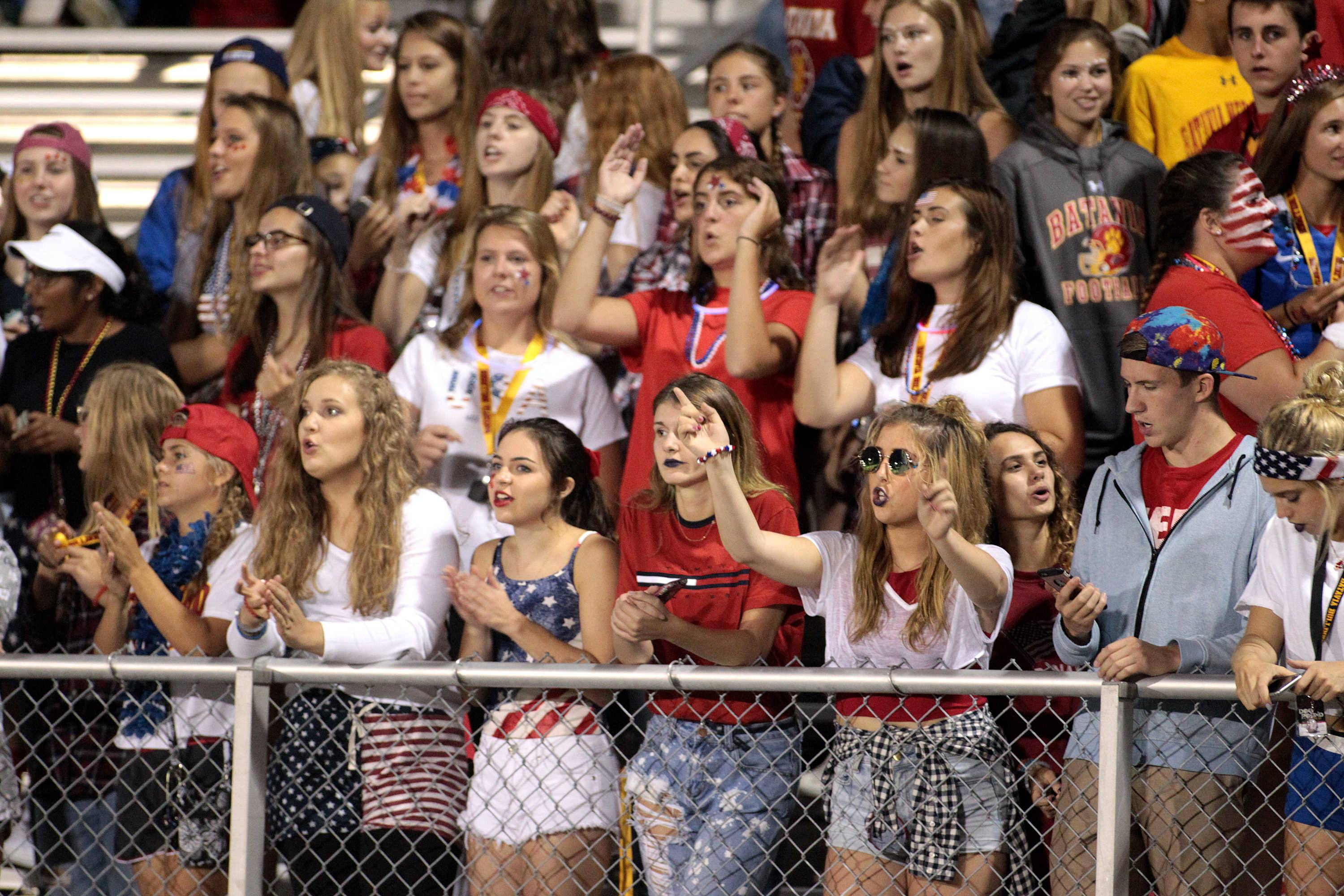 Batavia fans cheer during a game at Streamwood Sept. 9.