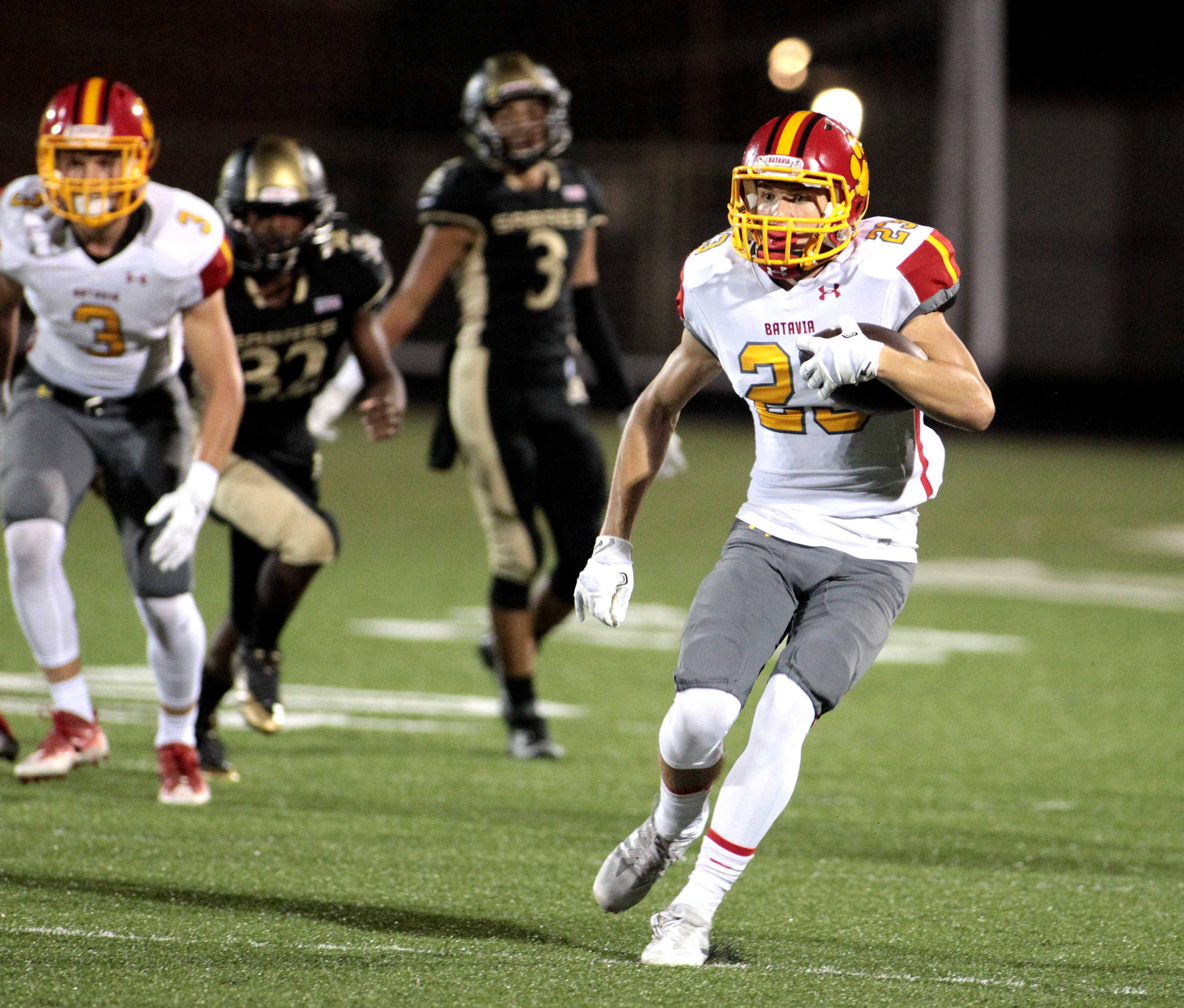 Batavia's Thomas Stuttle (23) runs the ball during a game at Streamwood Sept. 9.