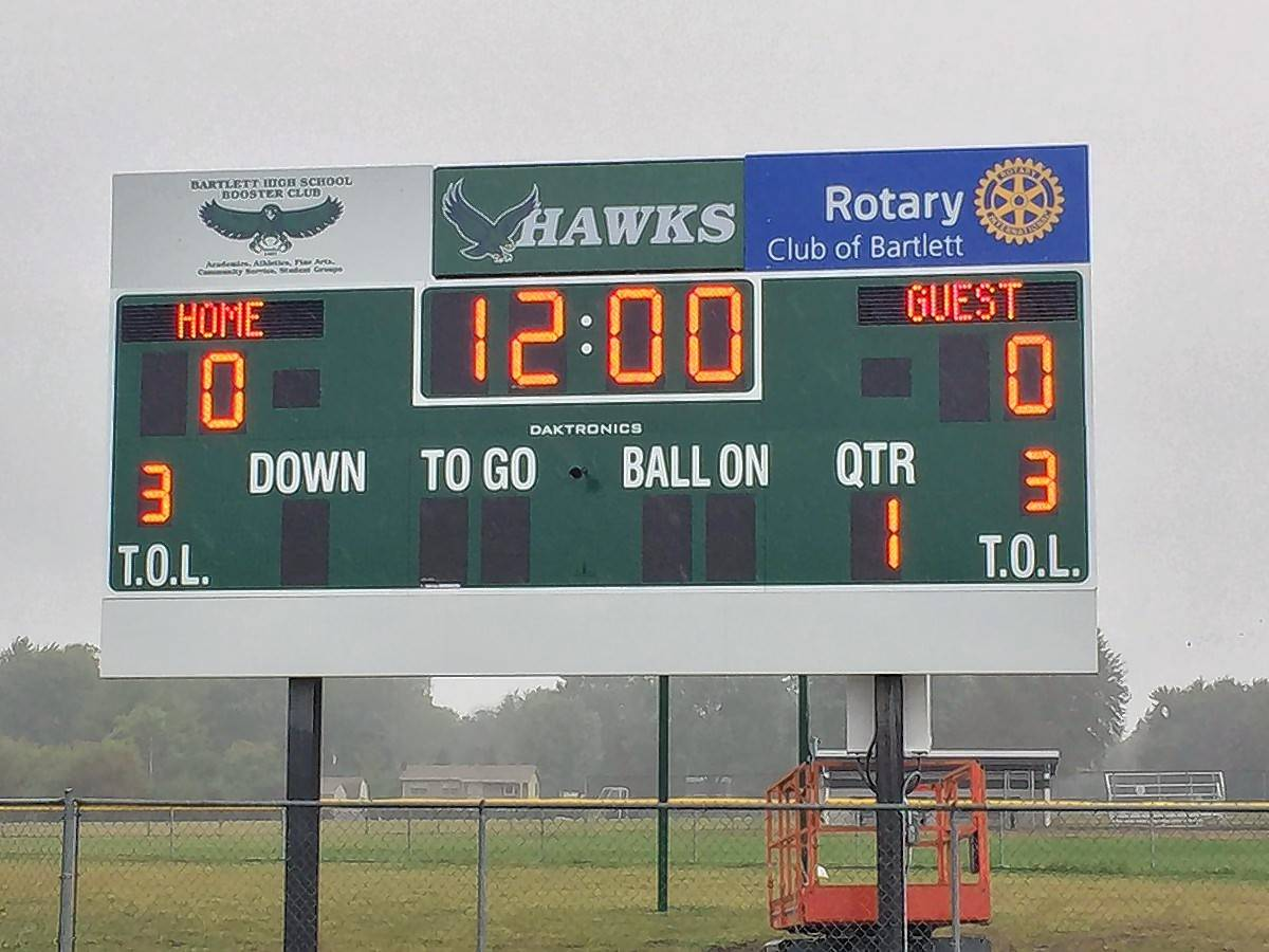 The new scoreboard at the Bartlett High School football field, which will be played on for the first time Saturday when the Hawks host East Aurora for homecoming.