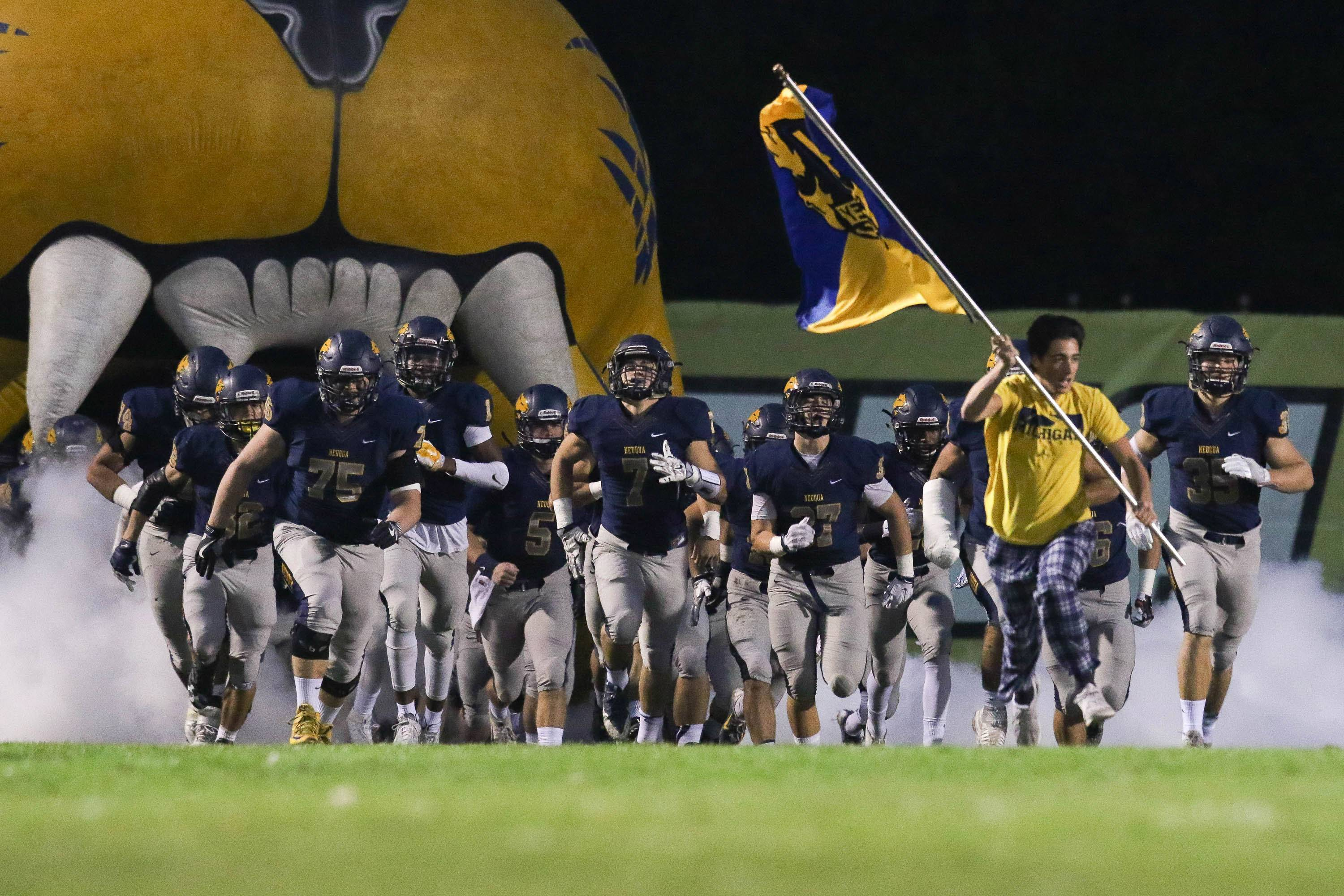 Neuqua Valley takes the field prior to kick off against Glenbard West at Neuqua Valley High School in Naperville, IL on Saturday, October 29, 2016