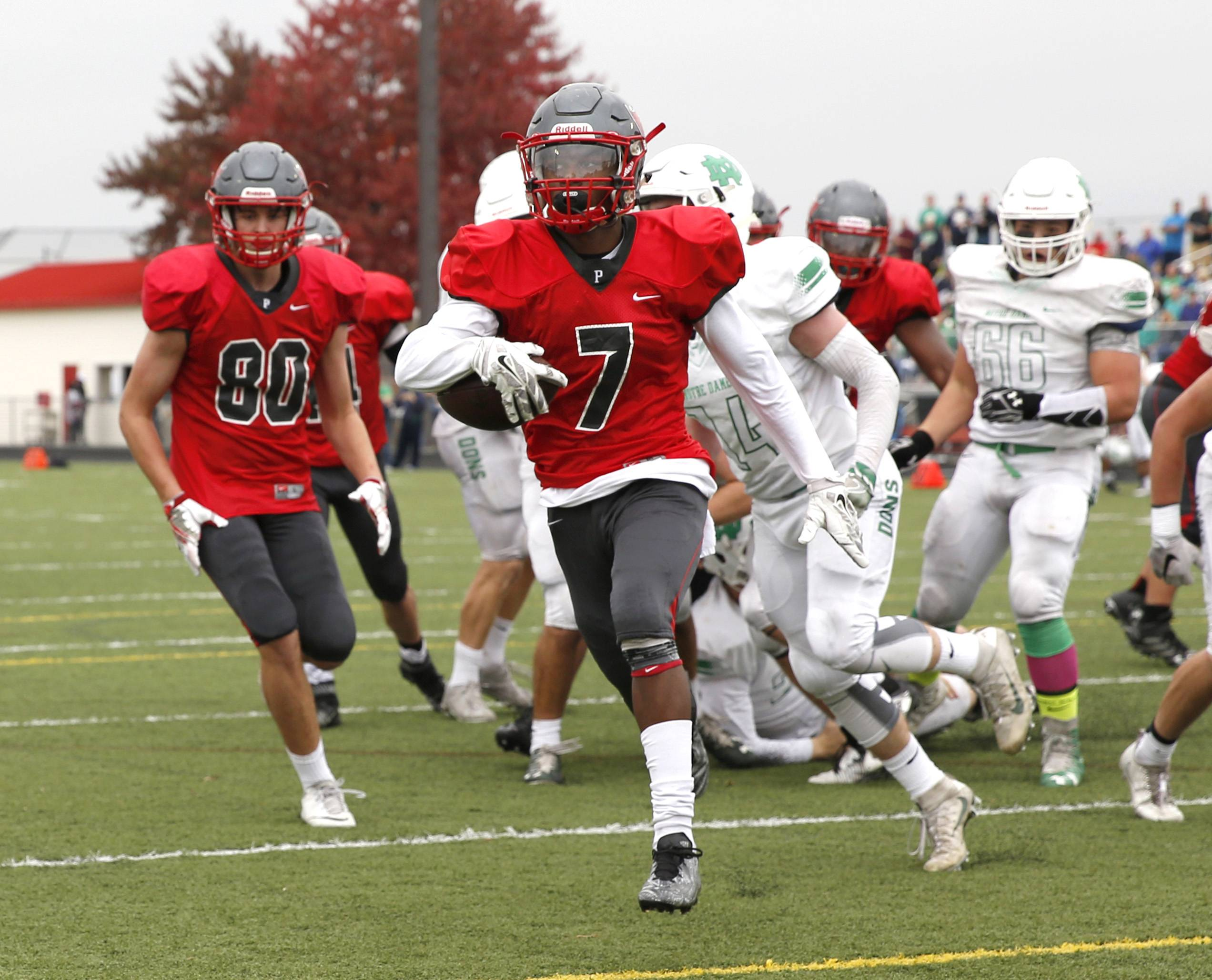 Palatine's Courtland Cornelius (7) runs for a first-half touchdown against Notre Dame during the first round of the Class 8A football playoffs in Palatine.