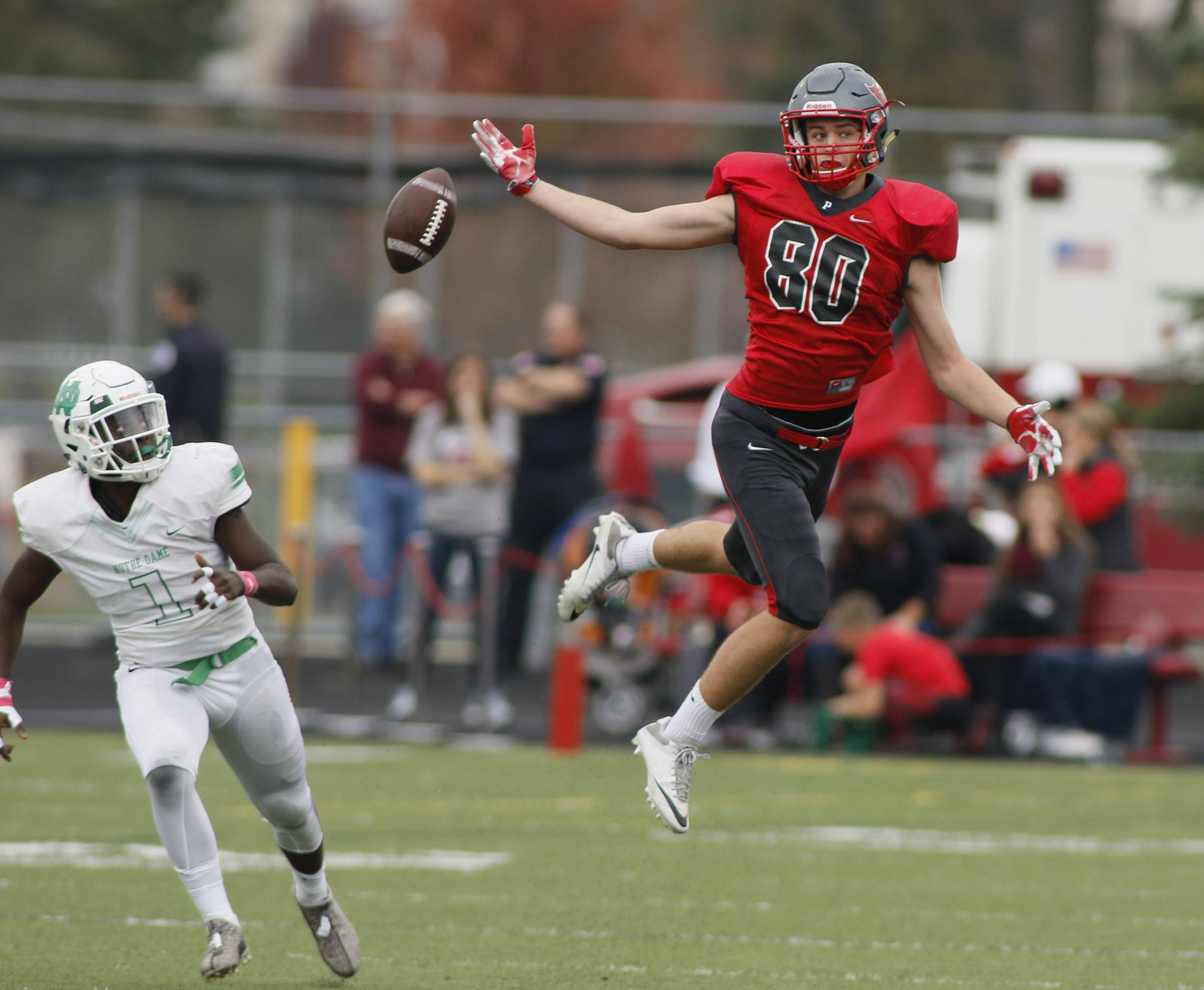 Palatine's Johnny O'Shea (80) looks to catch a pass against Notre Dame during the first round of the Class 8A football playoffs in Palatine.