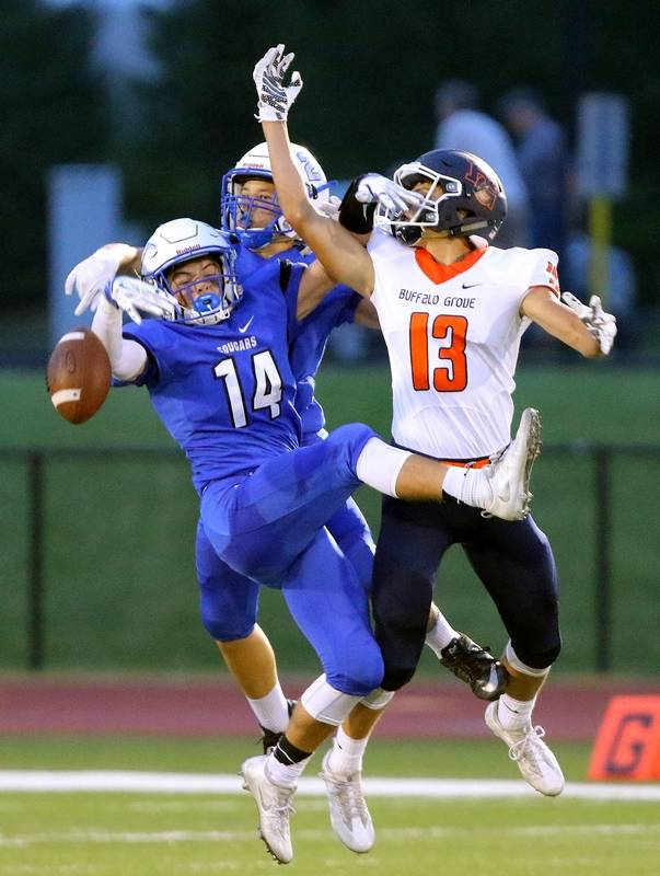 Vernon Hills' Max Lyle (14), here breaking up a pass intended for
