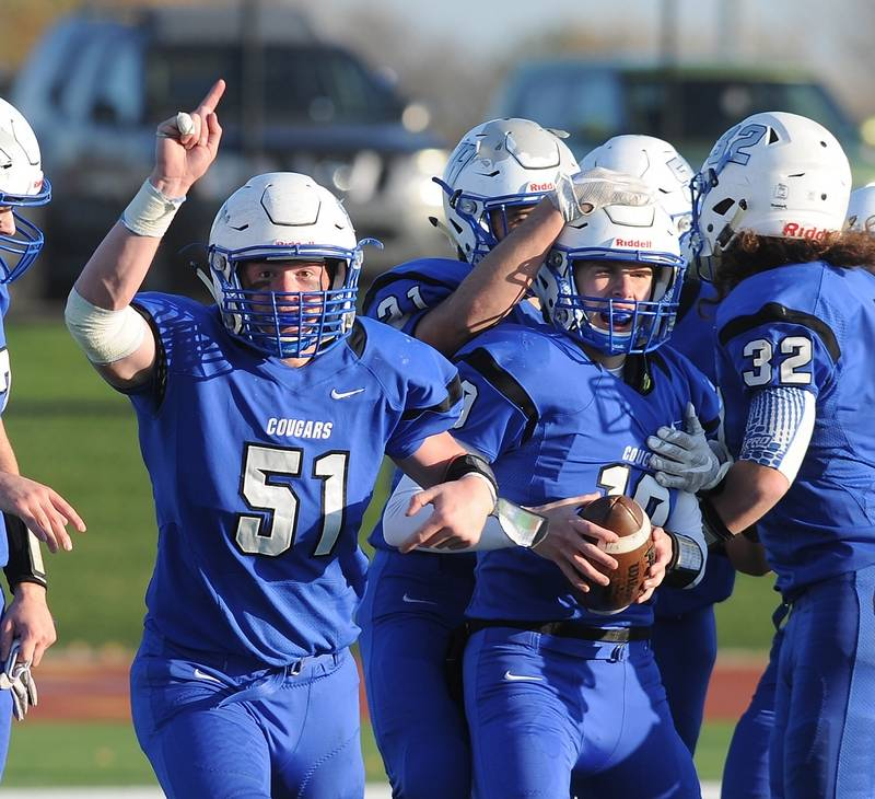 Vernon Hills' Andrew Smith and Kyle Hull celebrate their victory over  Marian Central Catholic's in