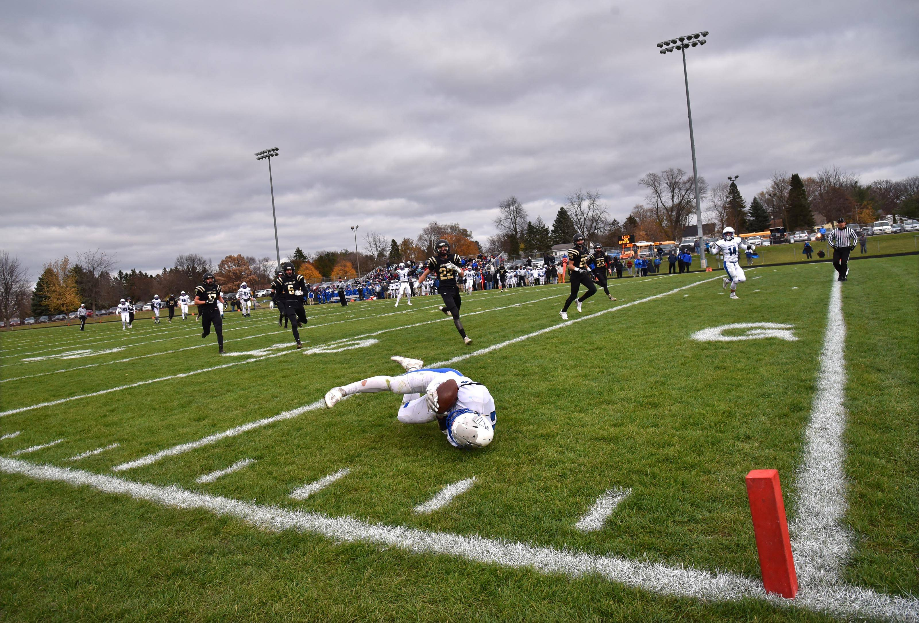 Vernon Hills' Nick Marras makes a diving catch just short of the goal line against Sycamore Saturday in the Class 5A football state semifinals in Sycamore. The Cougars scored on the next play.