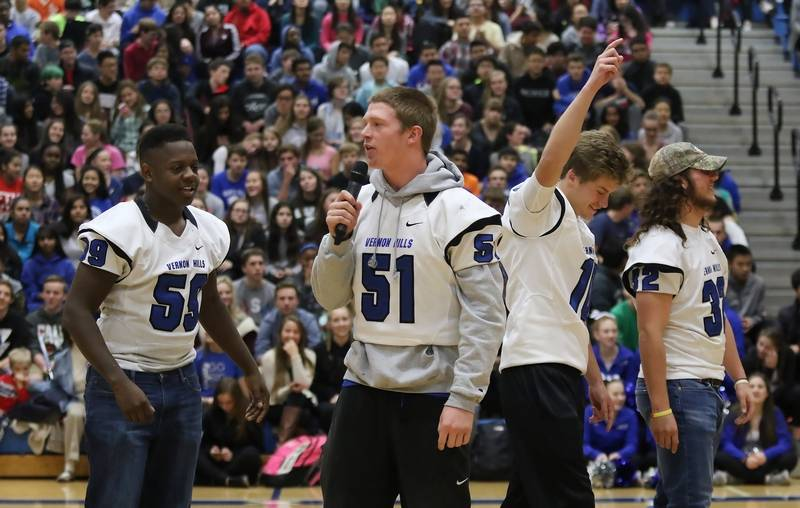 Vernon Hills High School football captains Mac Vincent, left, Andrew Smith,  Kyle Hull