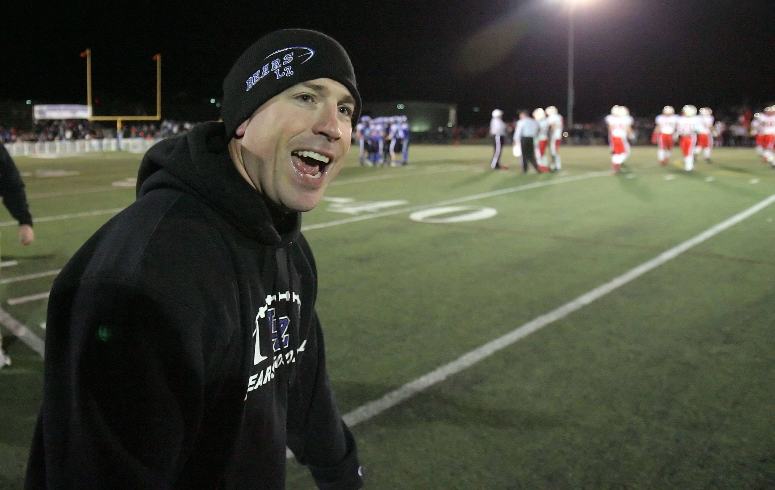 Bryan Stortz celebrates after Lake Zurich defeated St. Rita 21-0 in the Class 7A football semifinals in 2010. Stortz, most recently the football coach and athletic director at Rock Island, will be Conant's next football head coach.