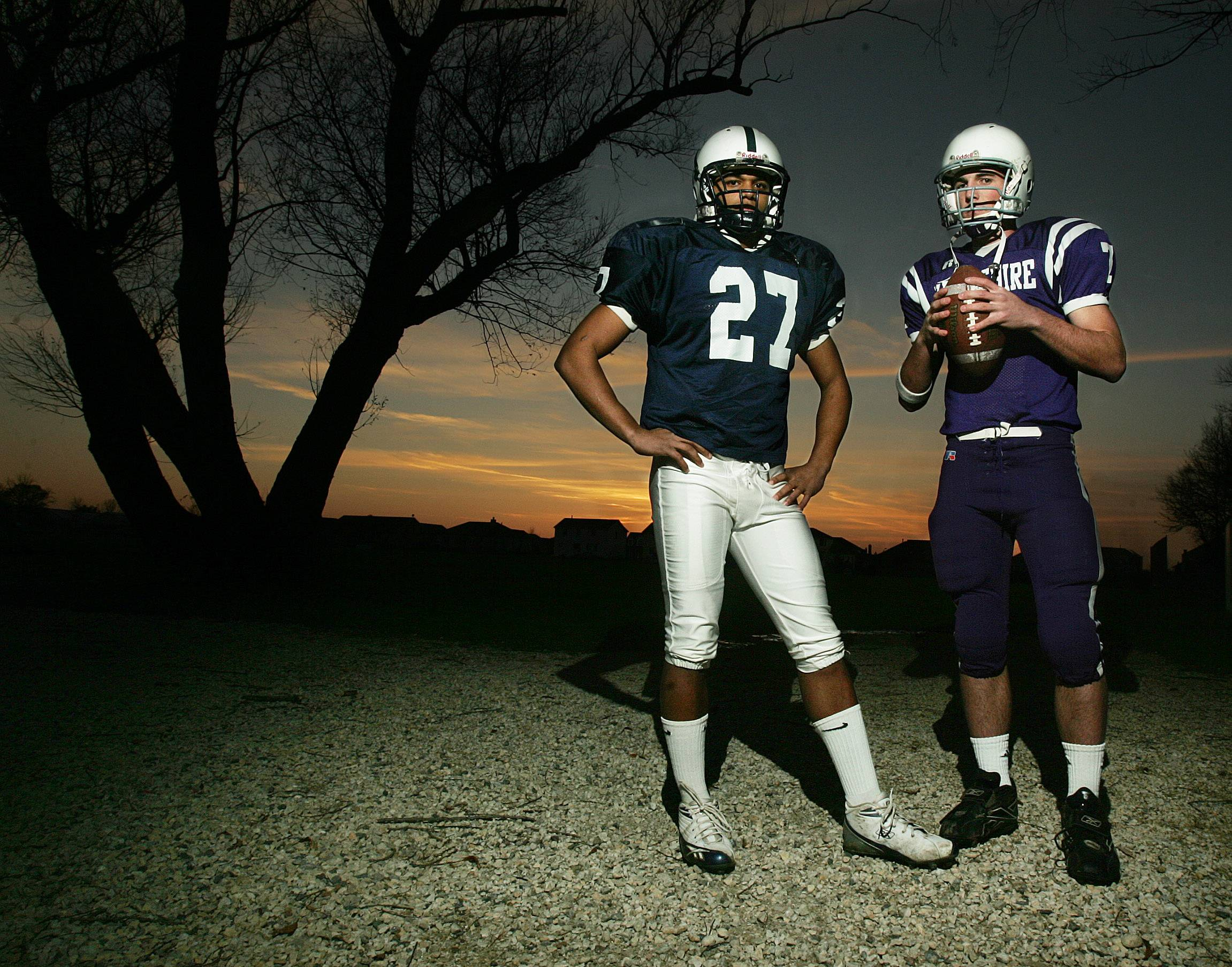 For their efforts on the field in 2005, Cary-Grove's Alex Kube, left, and Hampshire's Jake Goebbert were selected as captains of the Daily Herald's Fox Valley All-Area football team.